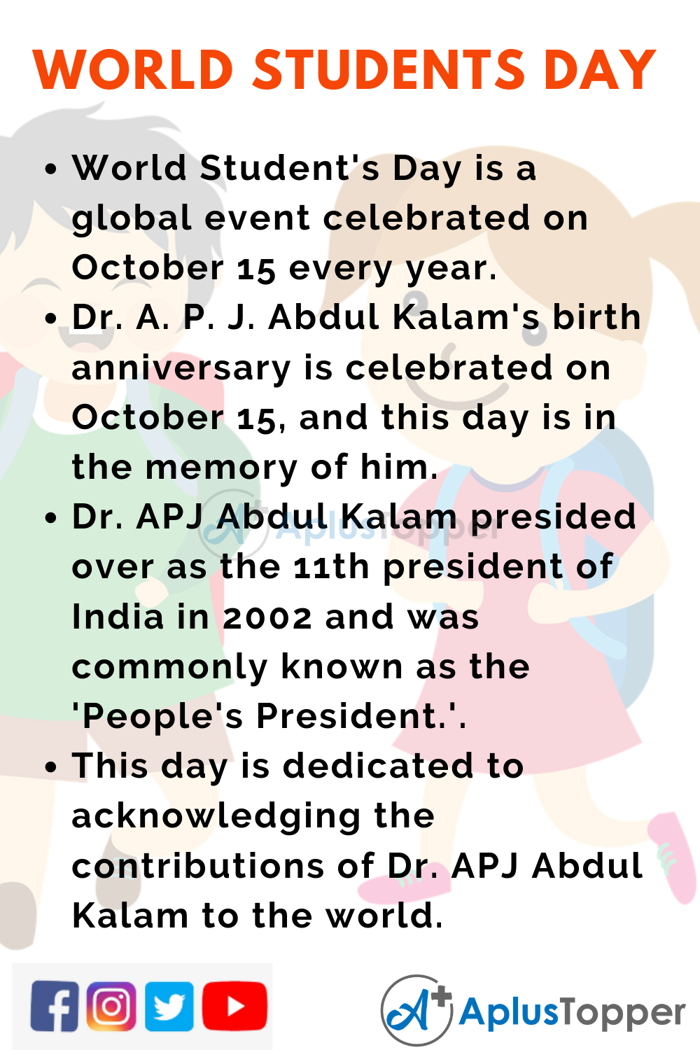 10 Lines on World Student's Day for Kids