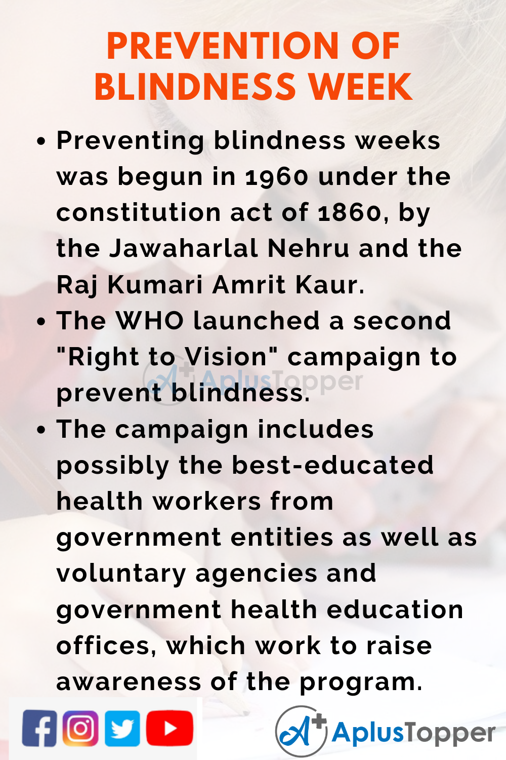 10 lines for Prevention of Blindness Week