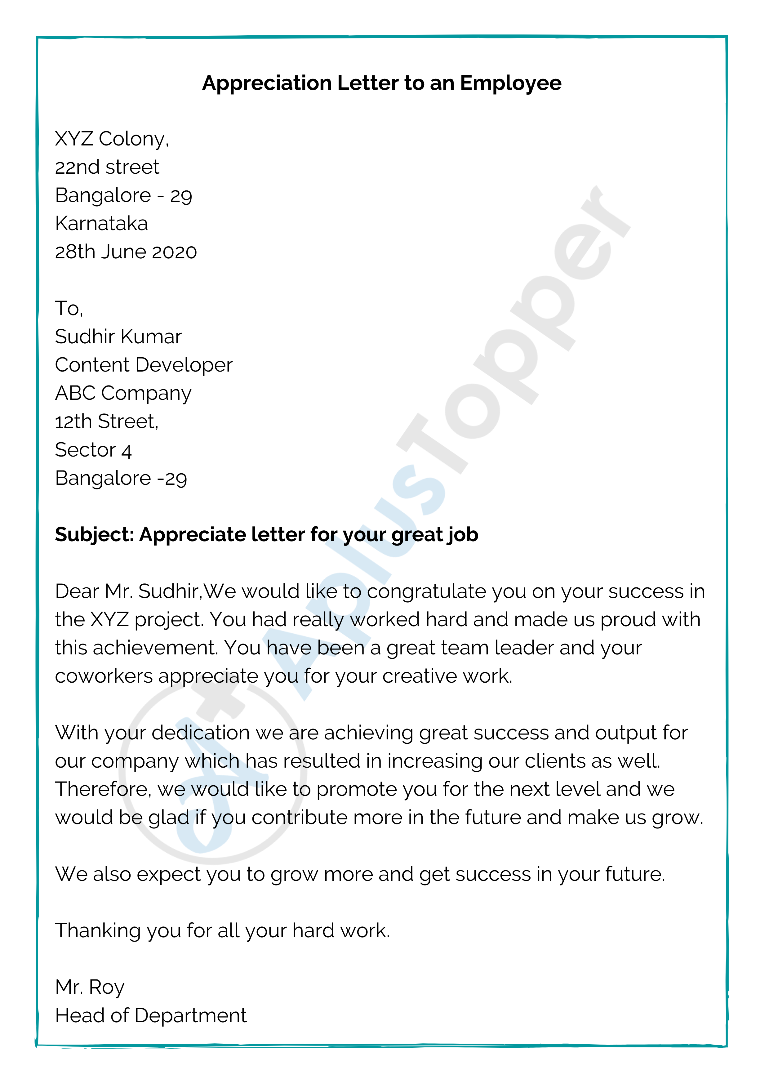 Appreciation Letter to an Employee