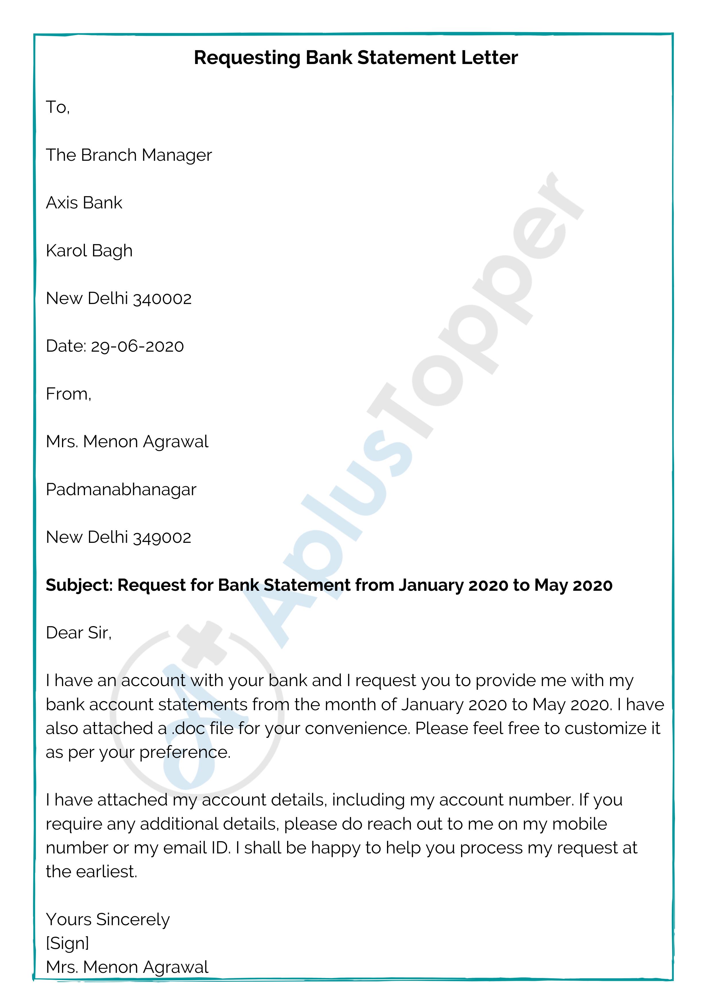 Bank Statement Letter Format