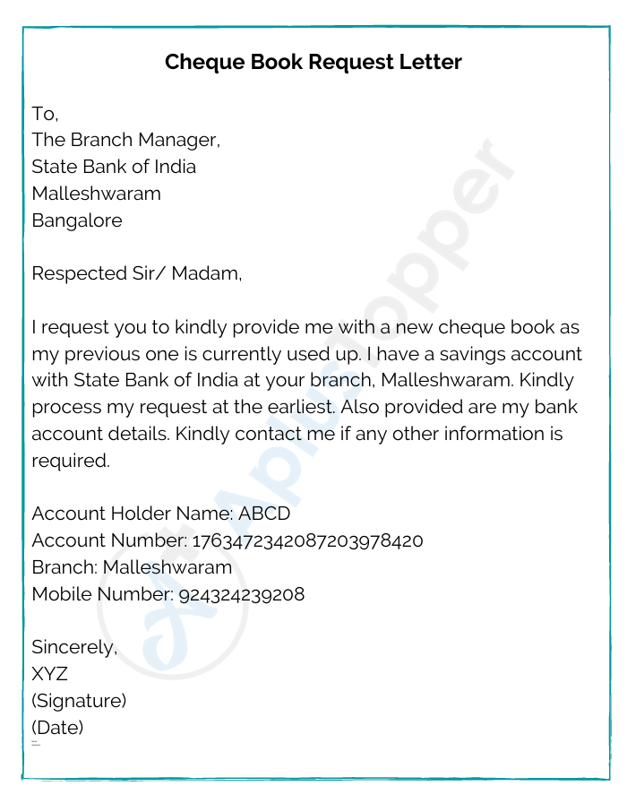 Cheque Book Request Letter SBI
