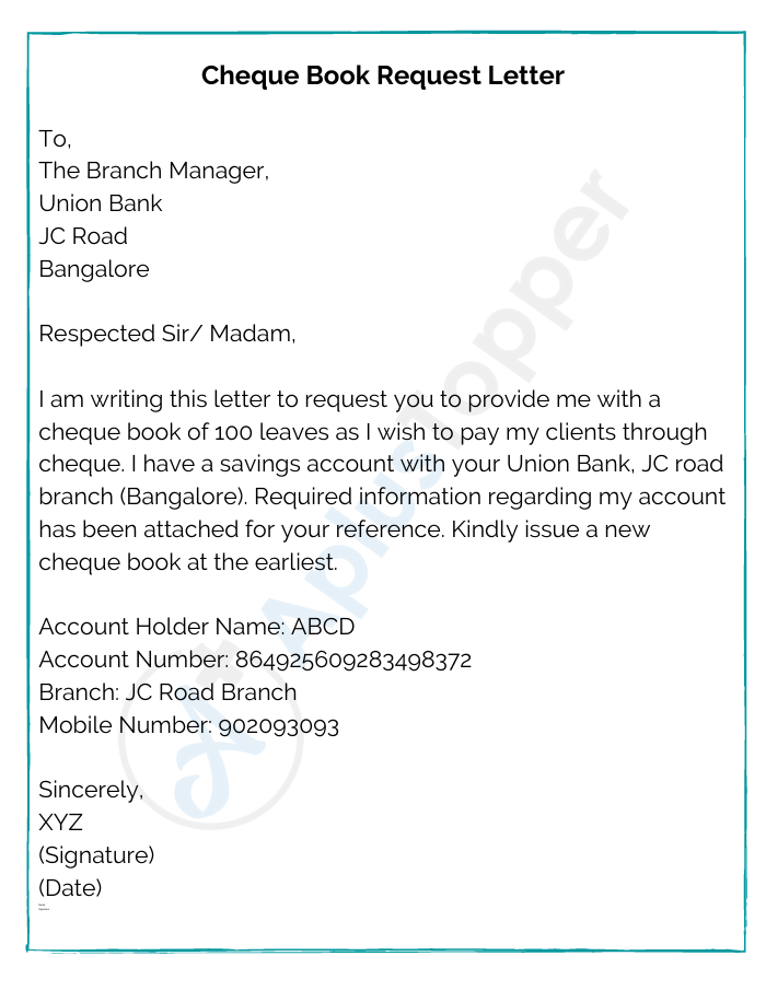 Cheque Book Request Letter Sample