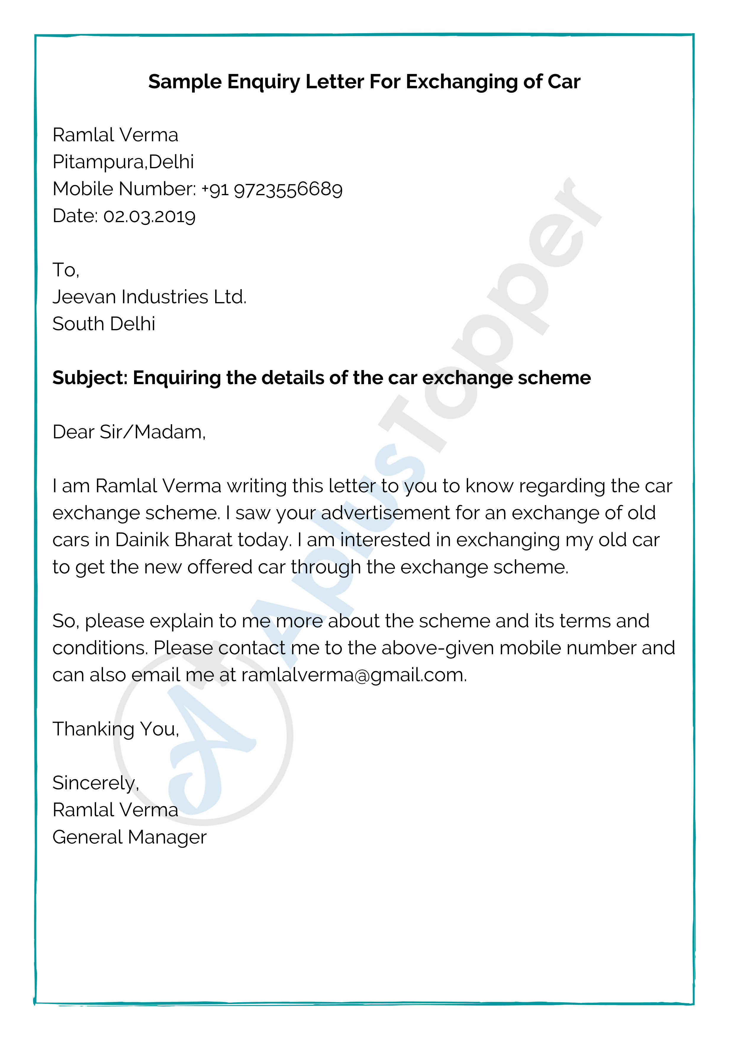 Enquiry Letter Format Sample And How To Write An Enquiry Letter A Plus Topper