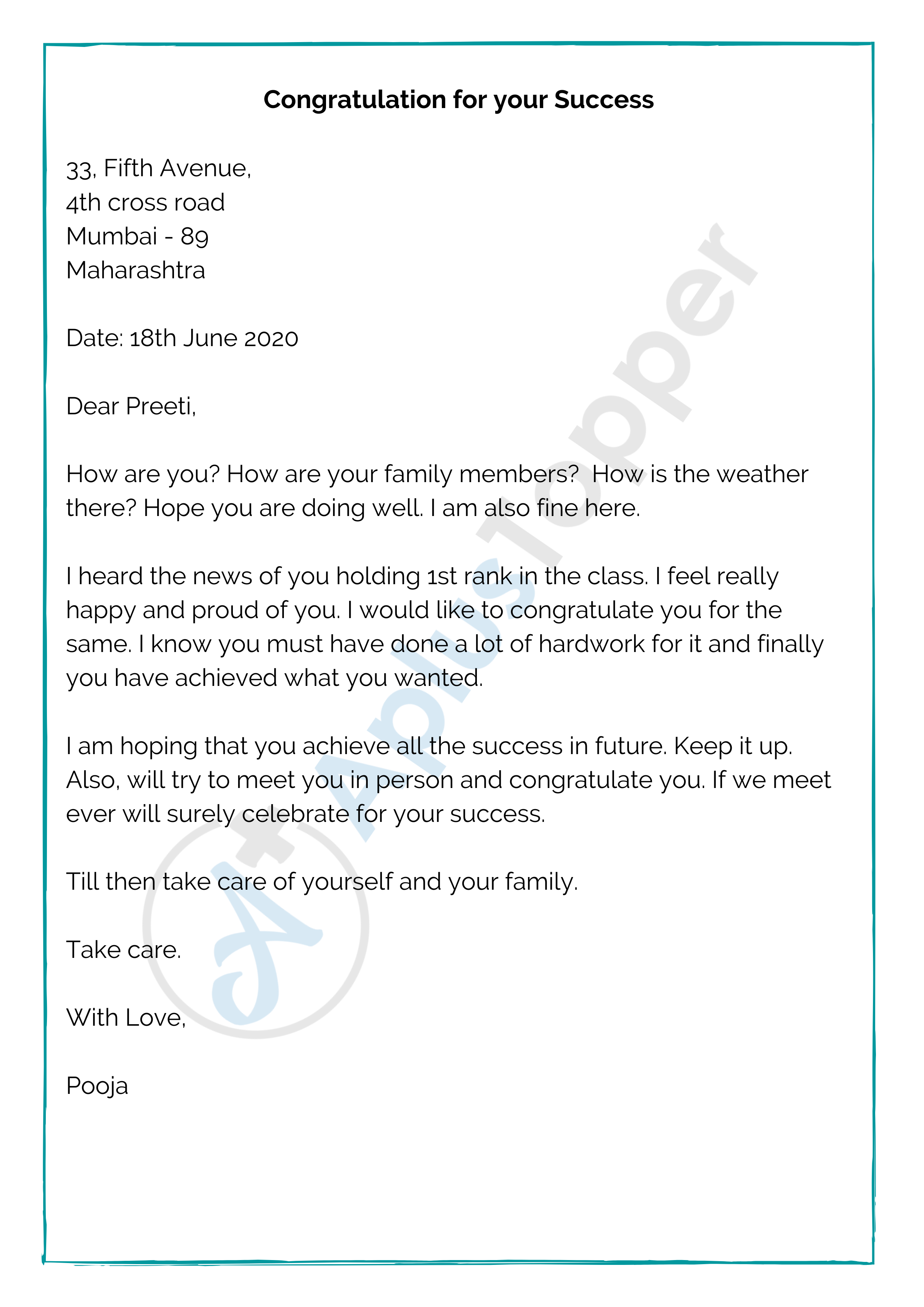 Informal Letter To A Friend To Congratulate on Success