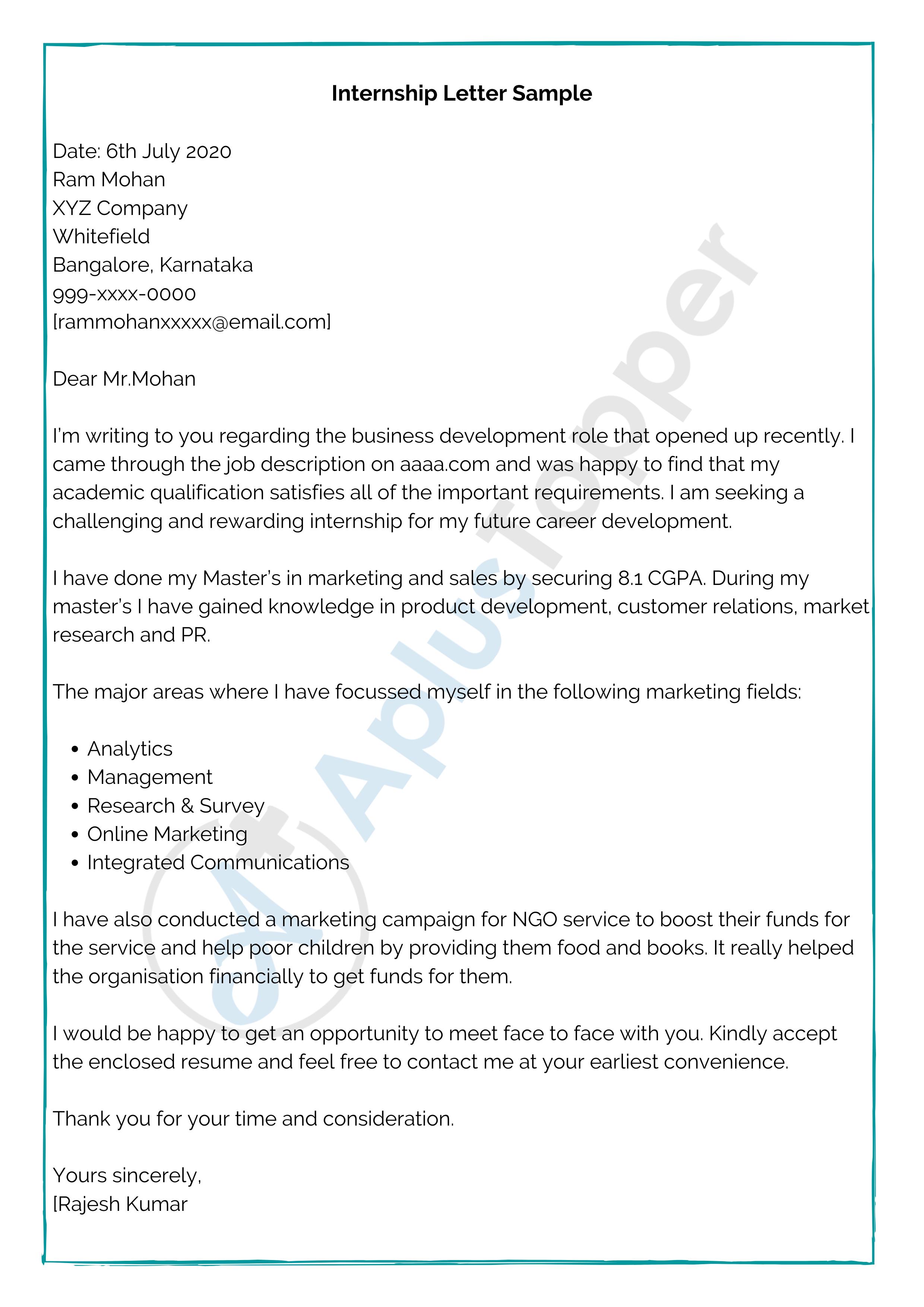 Internship Letter Samples