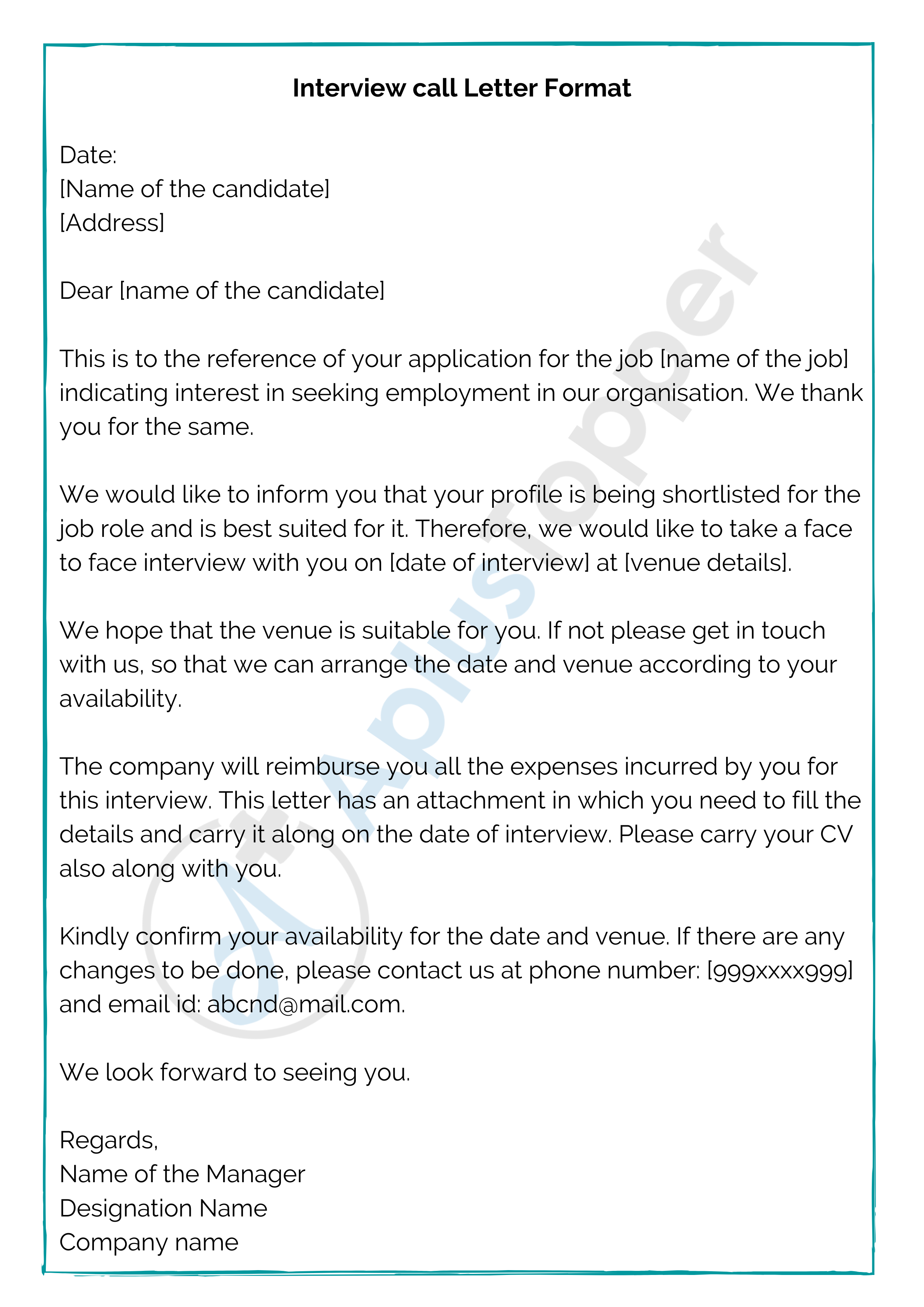 Interview Call Letter Format