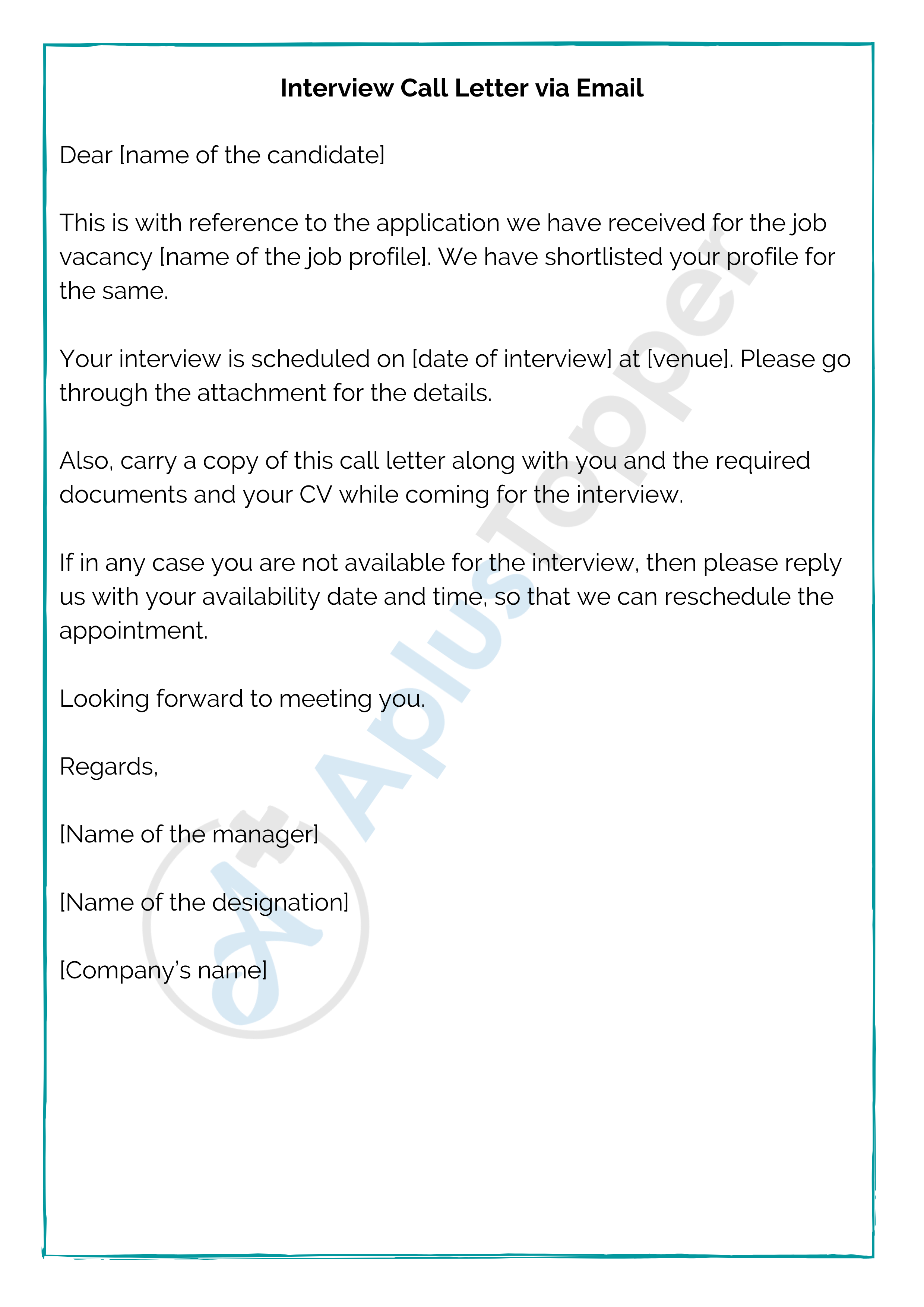 Interview Call Letter Via Email