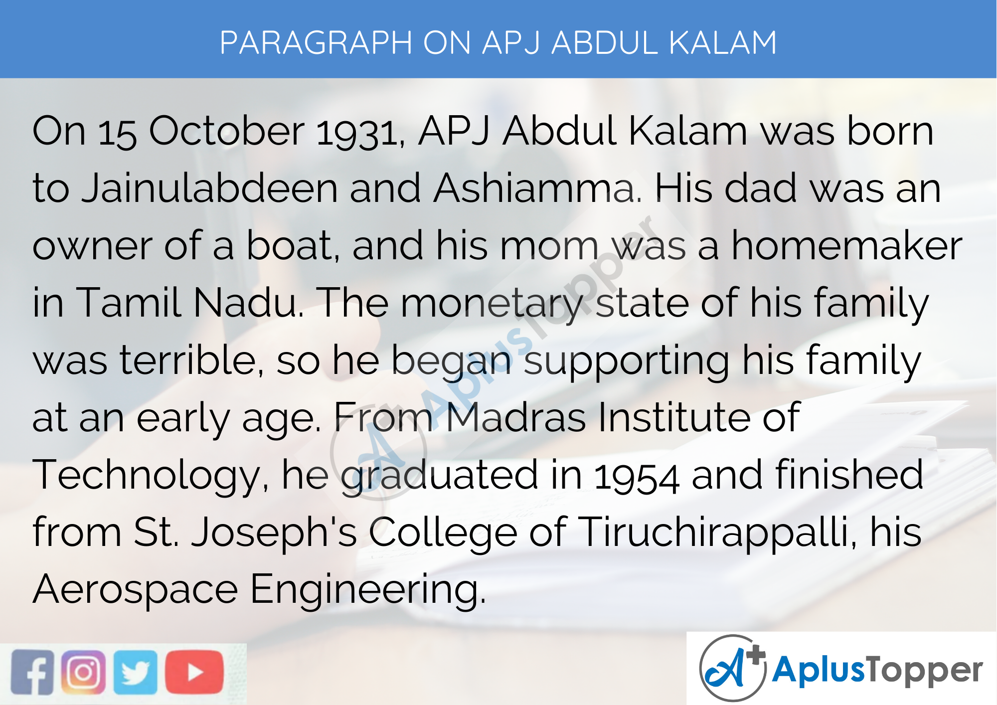 Paragraph On APJ Abdul Kalam - 250 to 300 Words for Classes 9, 10, 11, 12 And Competitive Exams Students