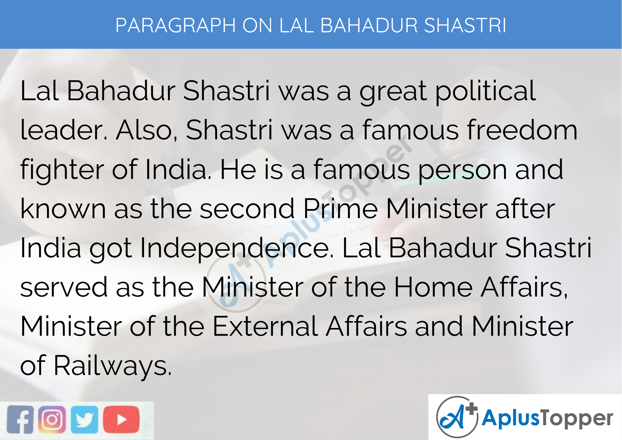 Paragraph On Lal Bahadur Shastri - 100 Words for Classes 1, 2, 3 Kids