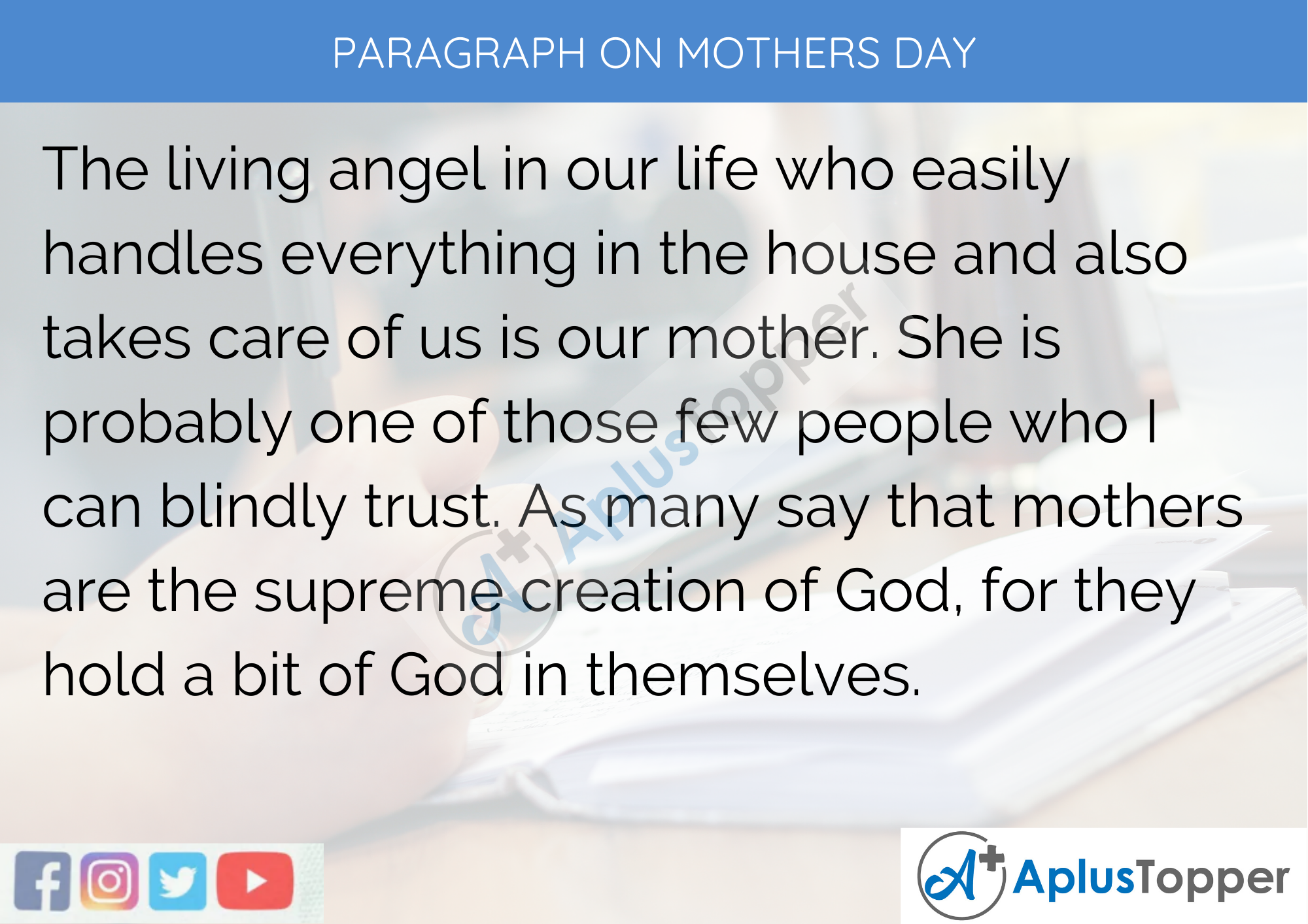 Paragraph On Mother's Day - 100 Words for Classes 1, 2, And 3 Kids