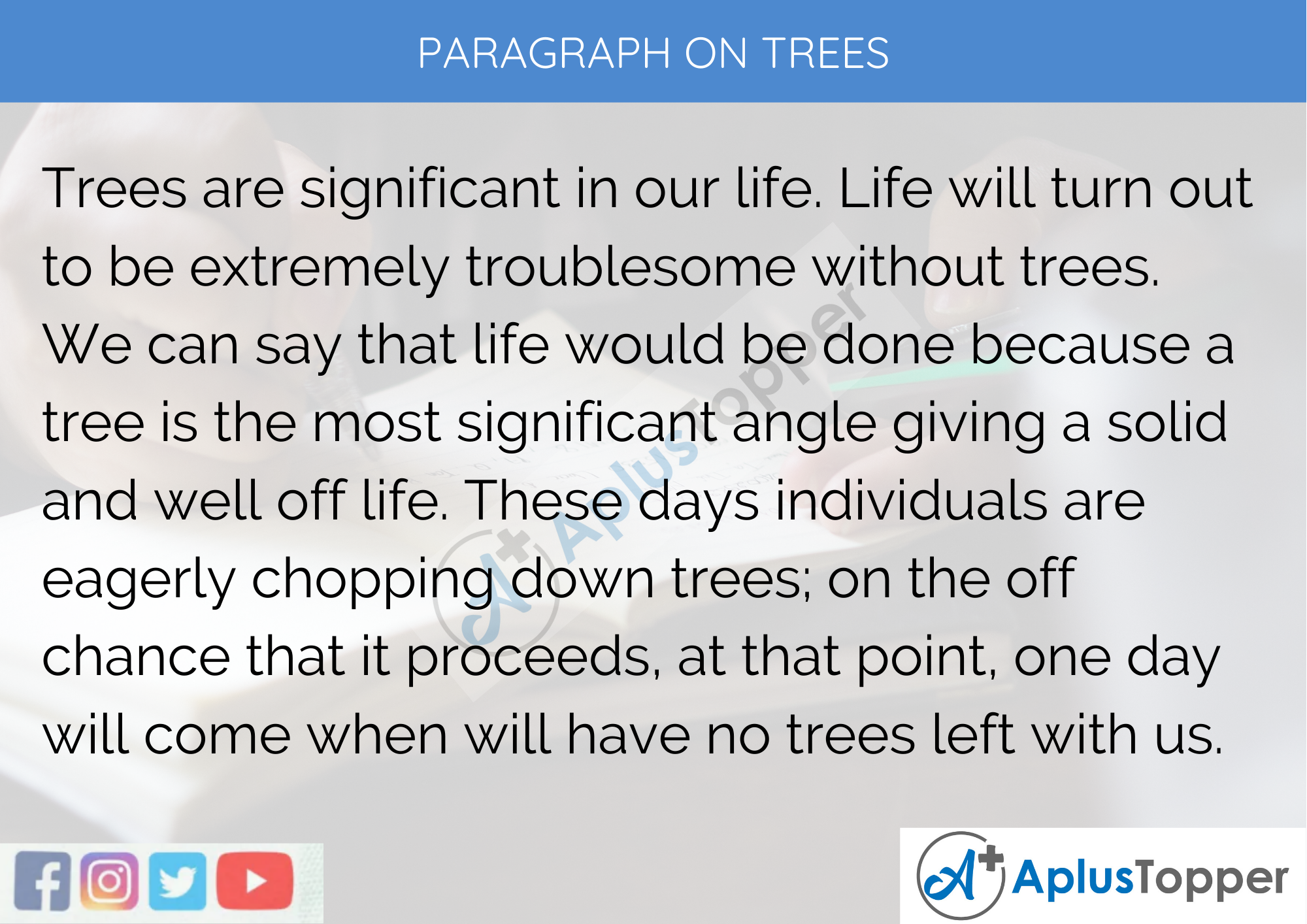 Paragraph On Trees - 100 Words for Classes 1, 2, 3 Kids