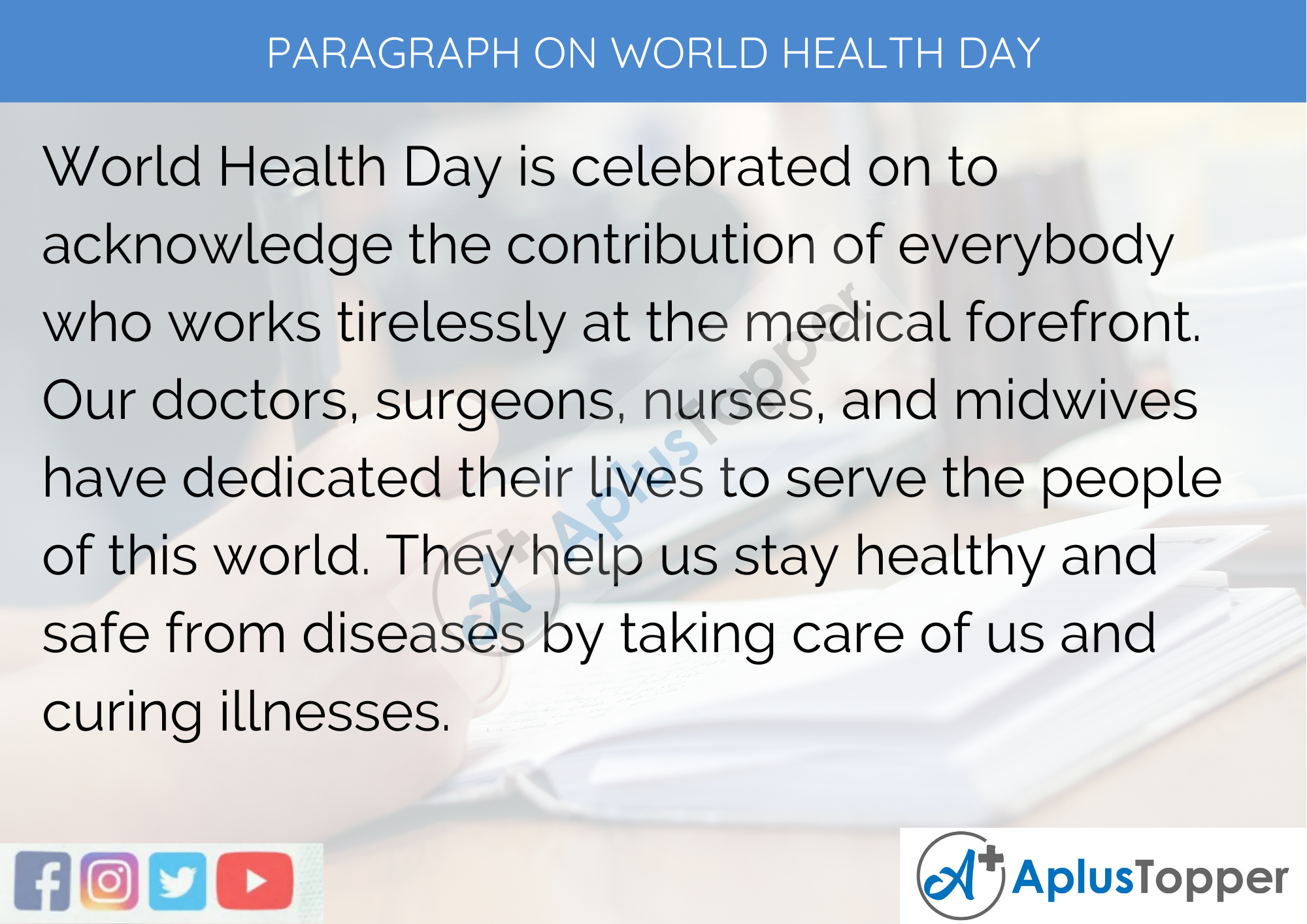 Paragraph On World Health Day - 100 Words for Classes 1, 2, 3 Kids