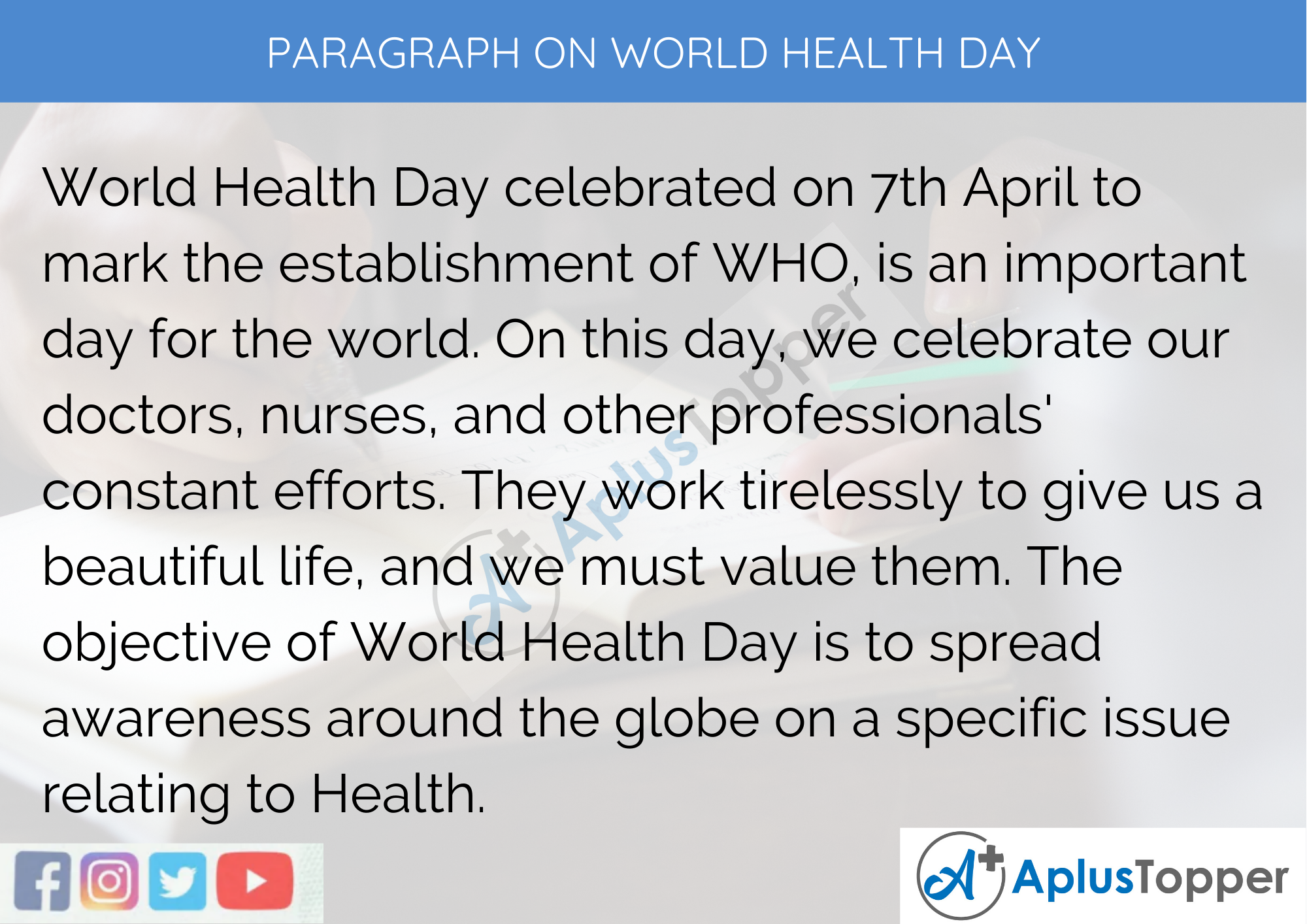 Paragraph On World Health Day - 250 to 300 Words for Classes 9, 10, 11, 12 And Competitive Exams Students