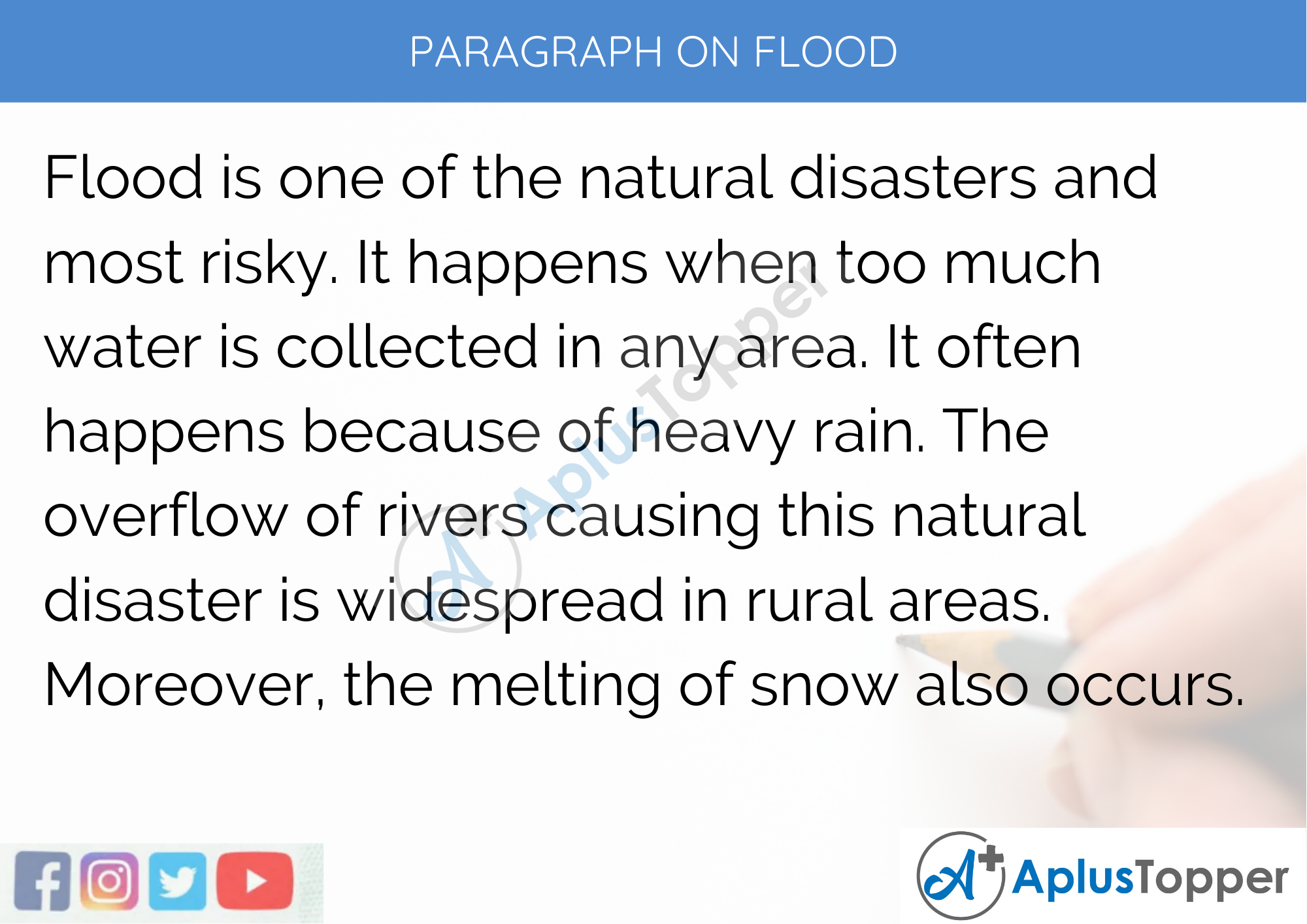 Paragraph on Flood - 100 Words for Classes 1, 2, 3 Kids