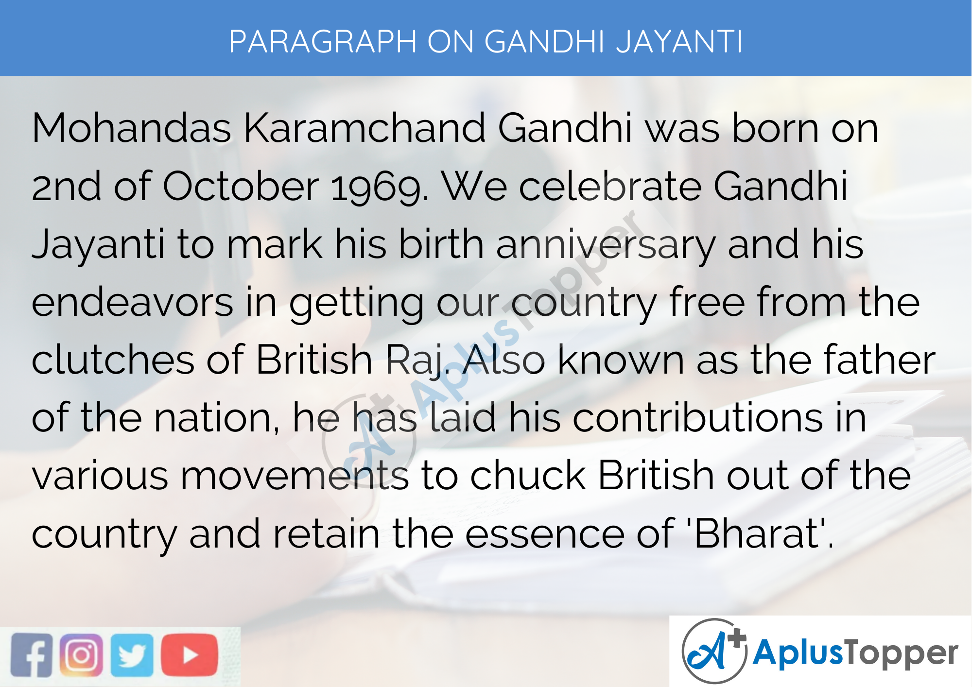 Paragraph on Gandhi Jayanti - 250 to 300 Words for Classes 9, 10, 11, 12 and Competitive Exams