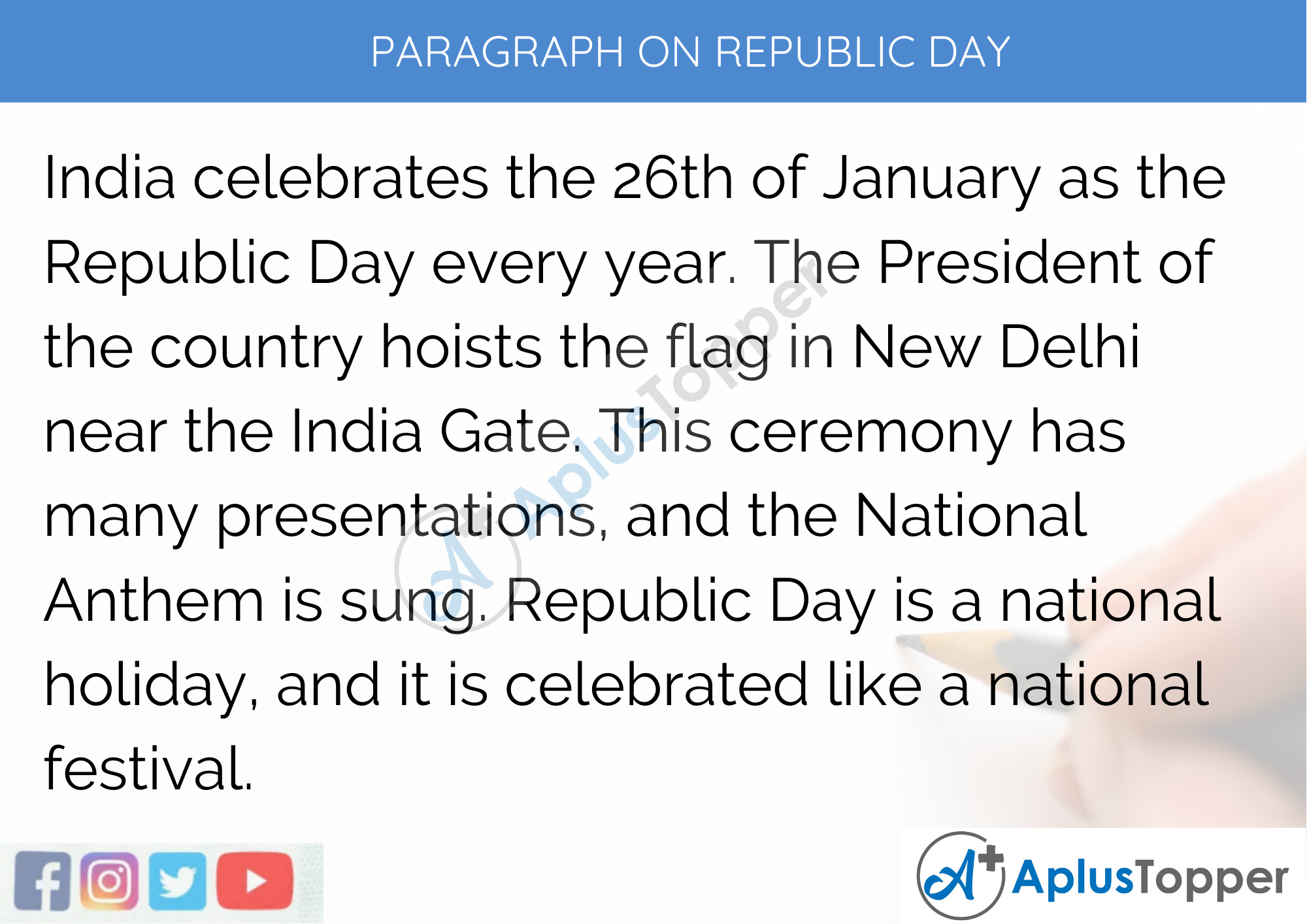 Paragraph on Republic Day - 100 Words for Classes 1, 2, and 3 Kids