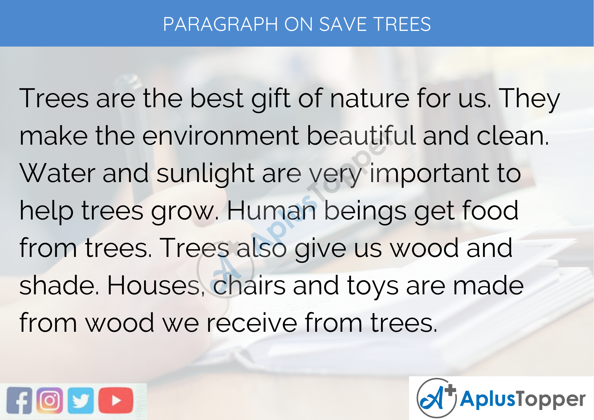 Paragraph on Save Trees - 100 Words for Classes 1, 2, 3 Kids