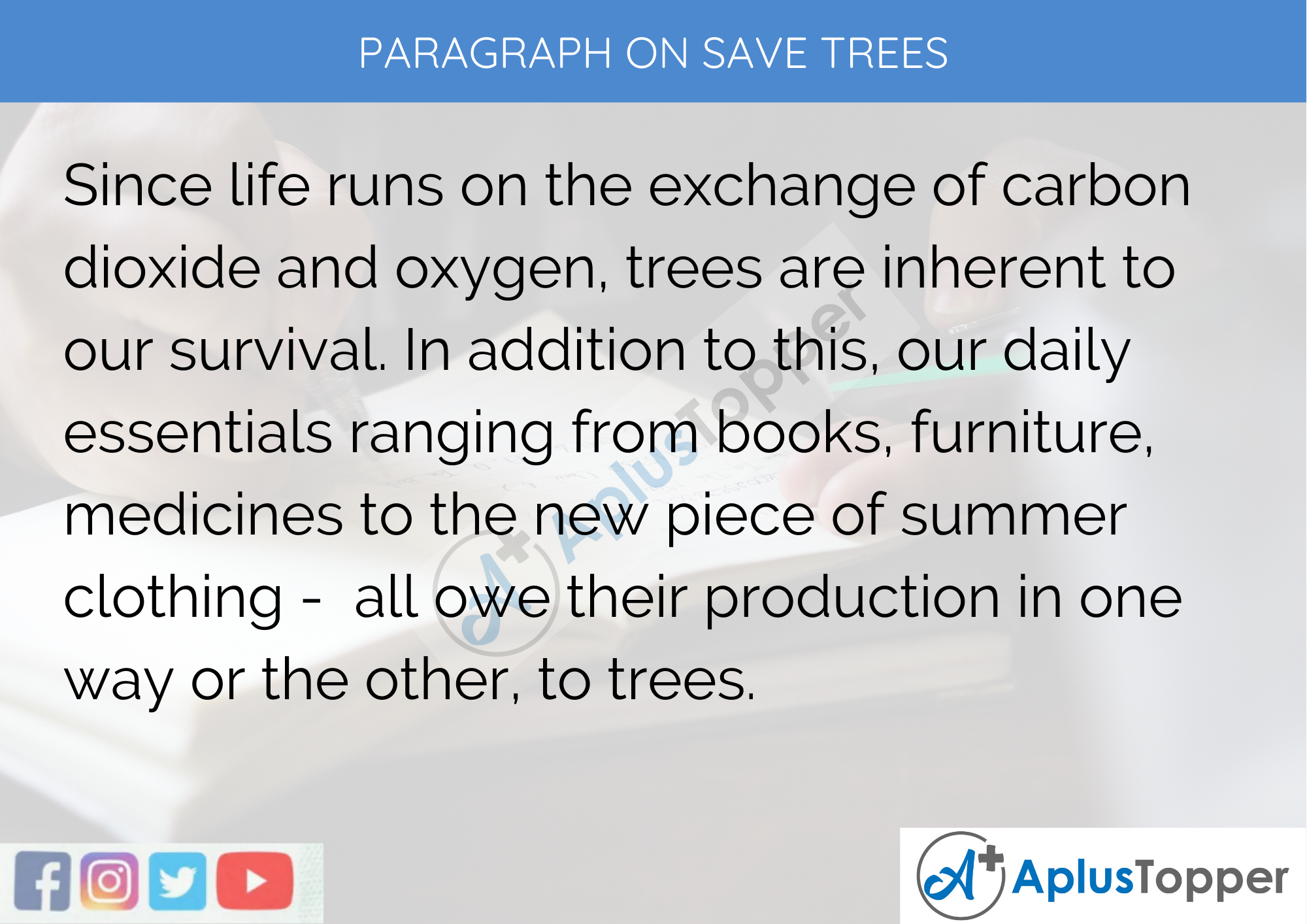 Paragraph on Save Trees 300 Words