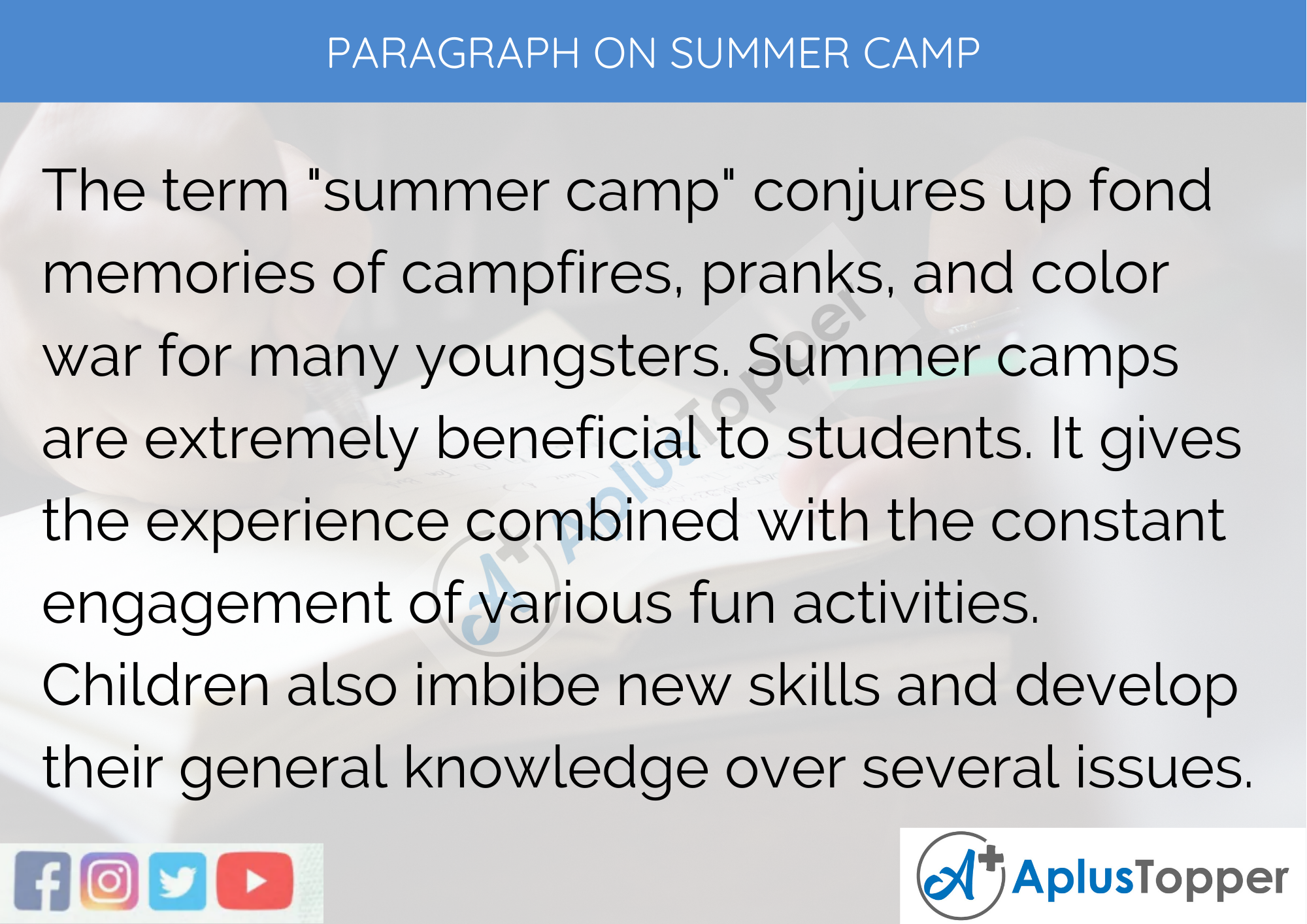Paragraph on Summer Camp - 250 to 300 Words for Classes 9, 10, 11, and 12, And Competitive Exam Students