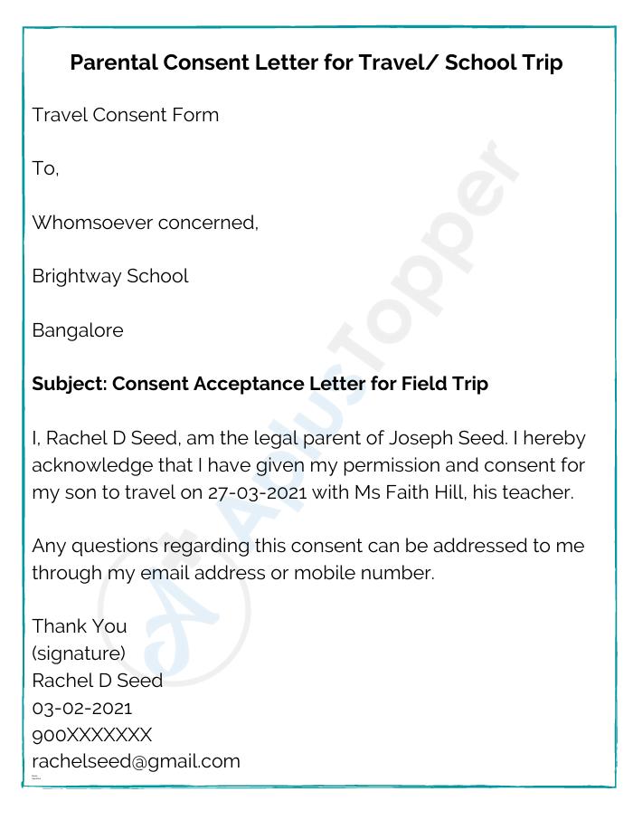 Parental Consent Letter for Travel School