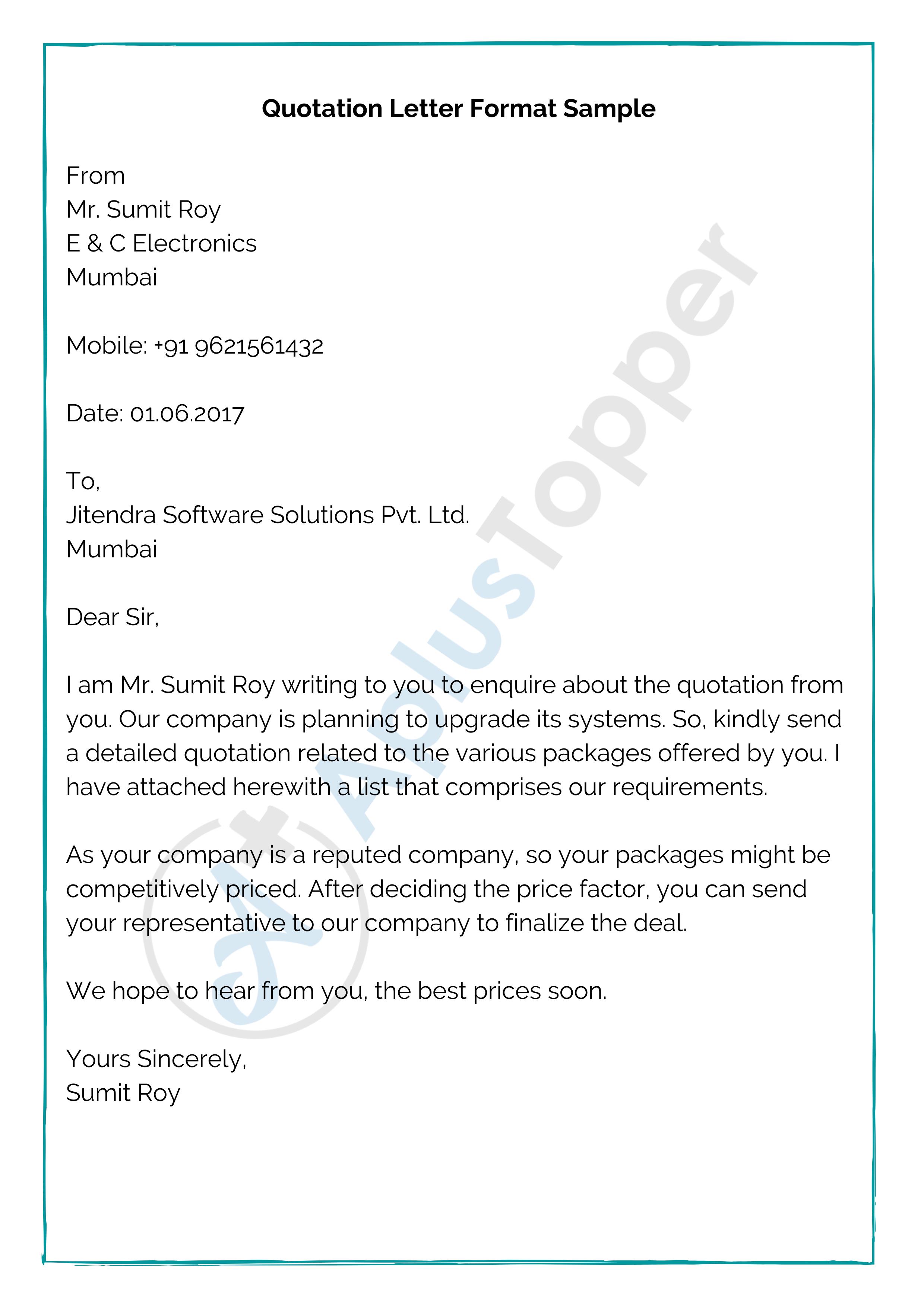 Quotation Format Letter Sample
