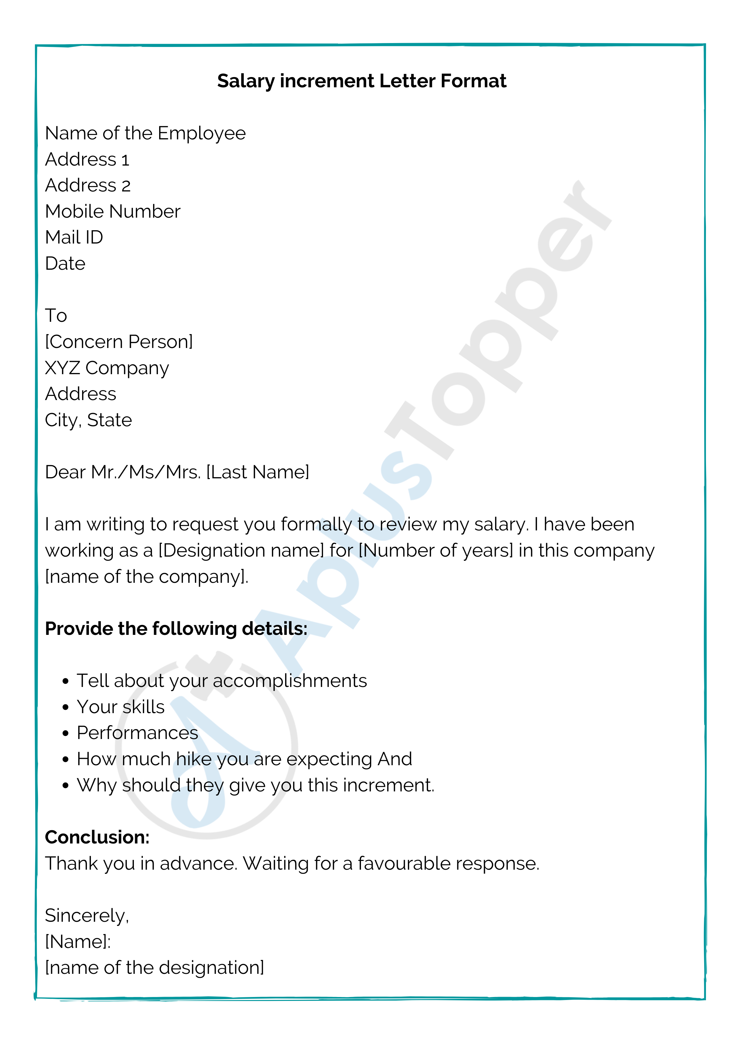 Salary Increment Letter Format
