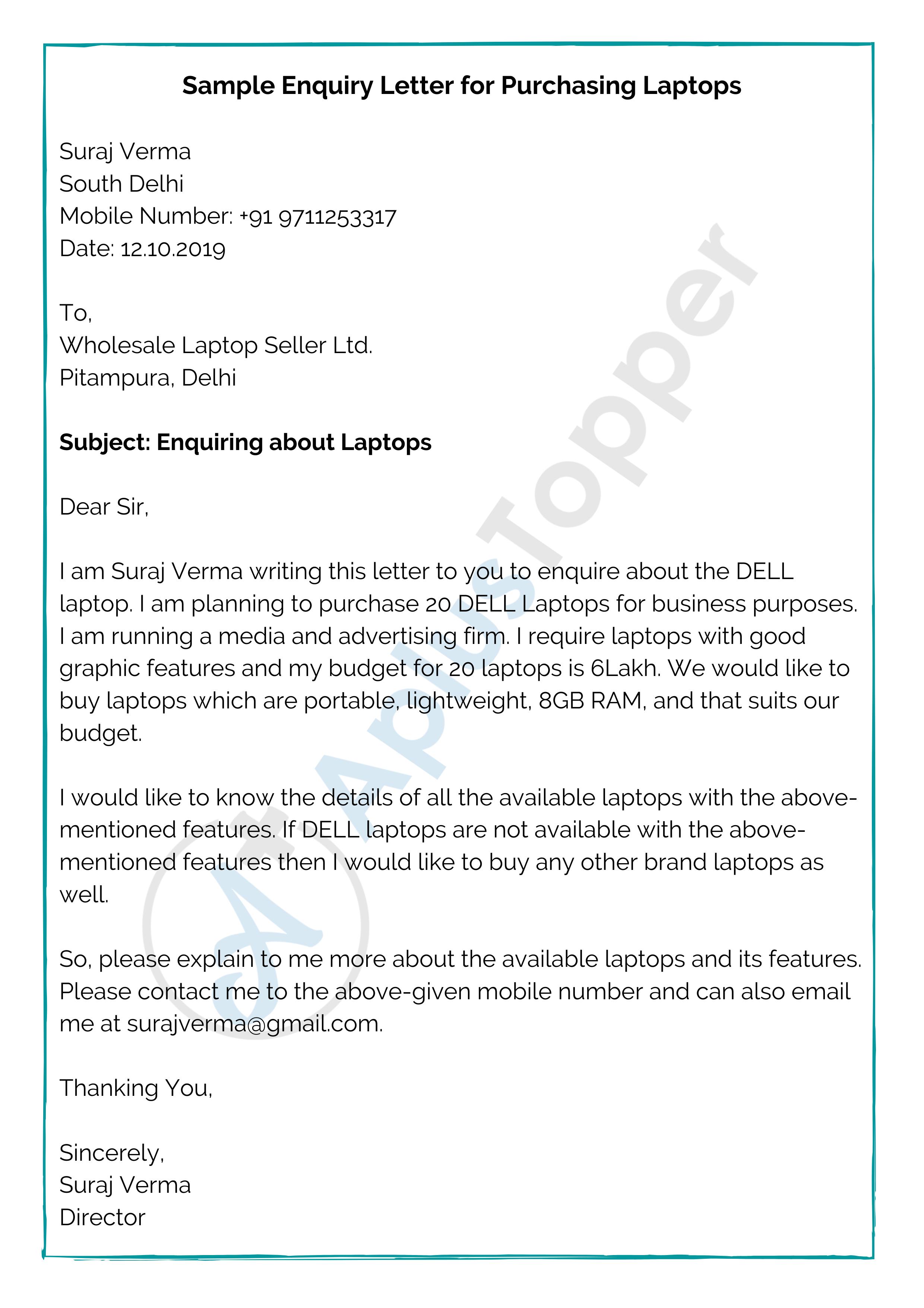 Sample Enquiry Letter for Purchasing Laptops