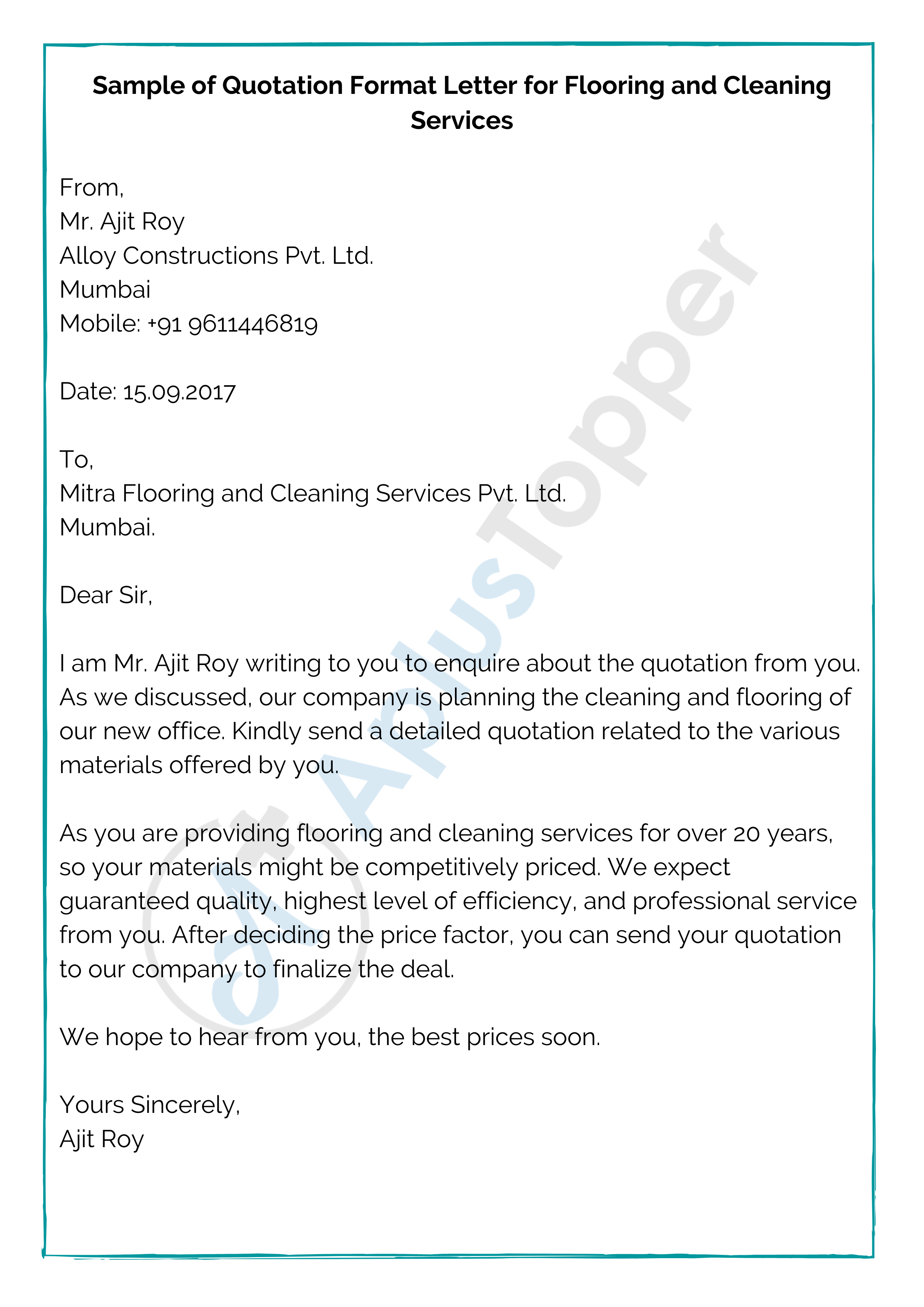 Sample of Quotation Format Letter for Flooring and Cleaning Services