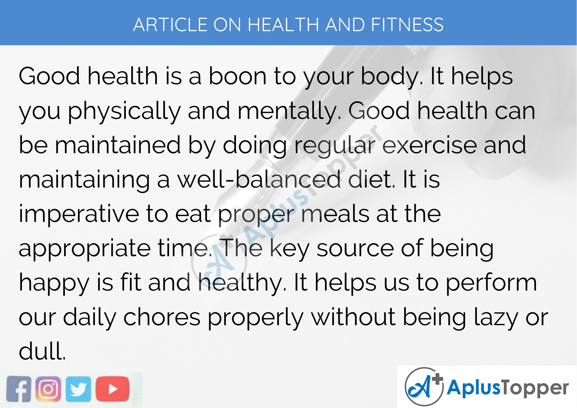 Short Articles on Health and Fitness 200 Words in English