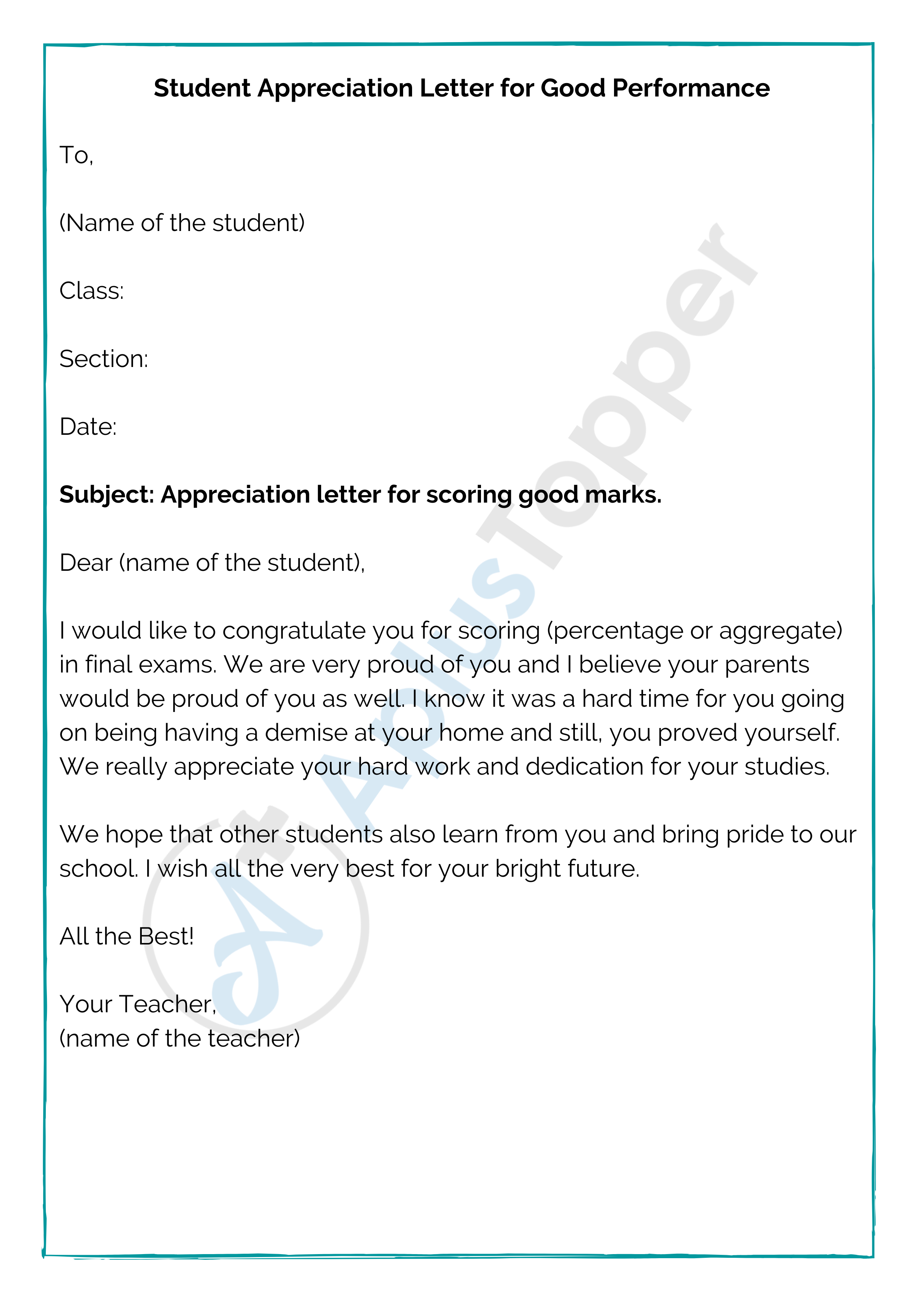 Student Appreciation Letter for Good Performance