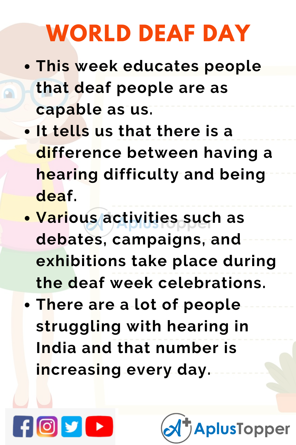 10 Lines Of World Deaf Day for Higher Class Students
