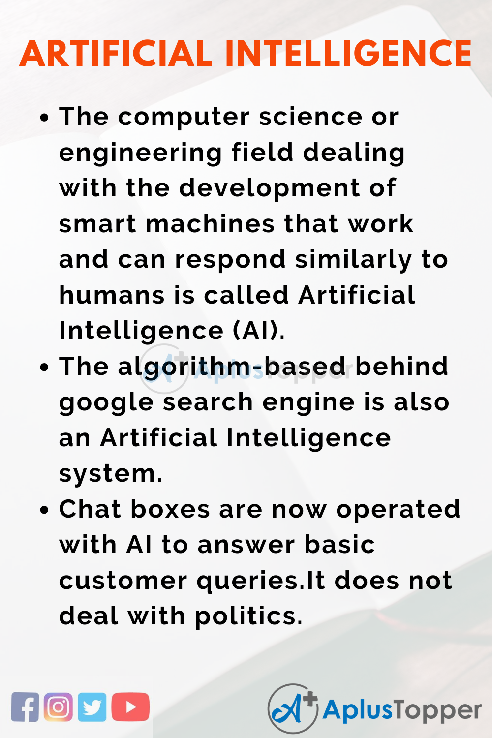 10 Lines On Artificial Intelligence Essay In English
