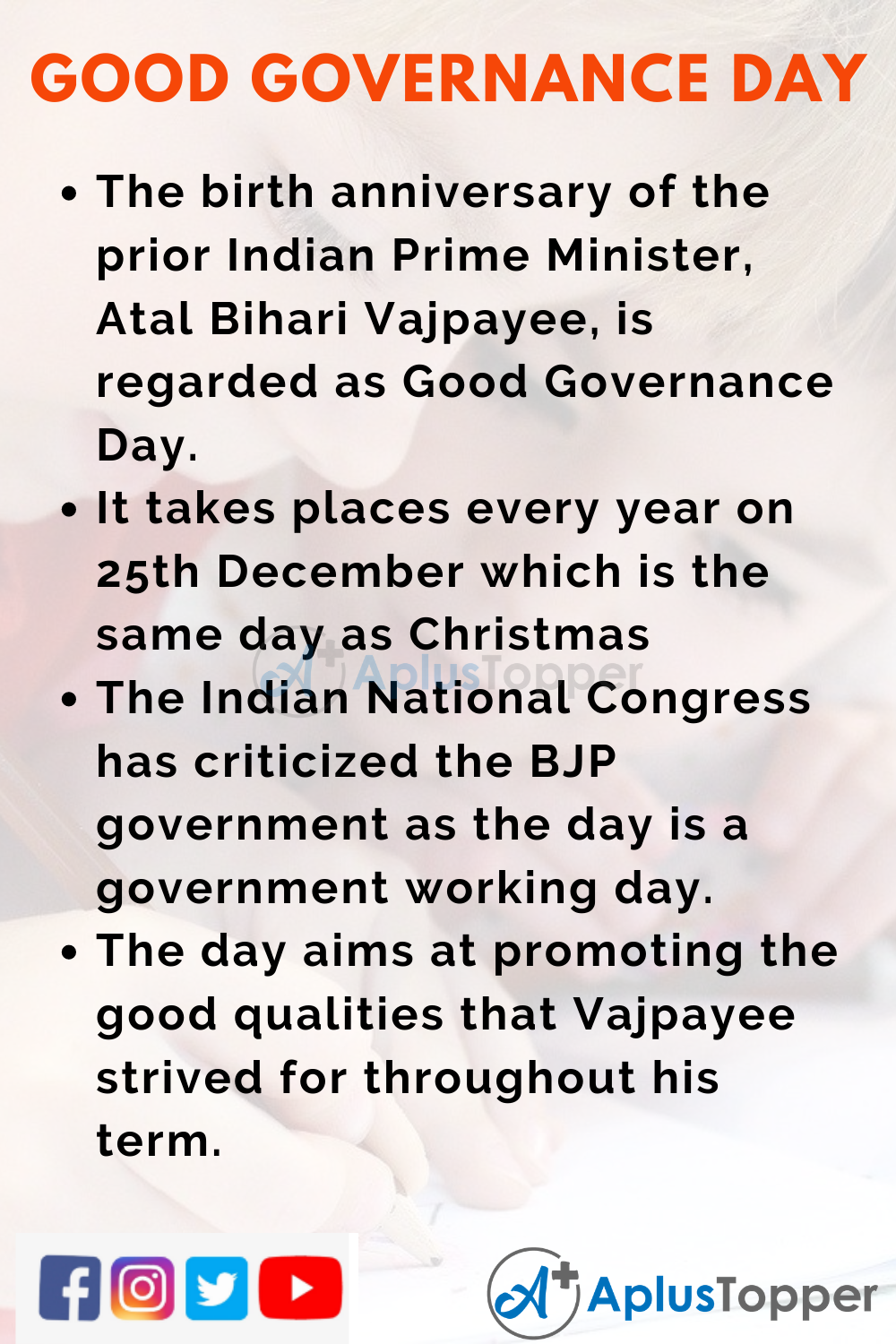 10 Lines On Good Governance Day for Higher Class Students