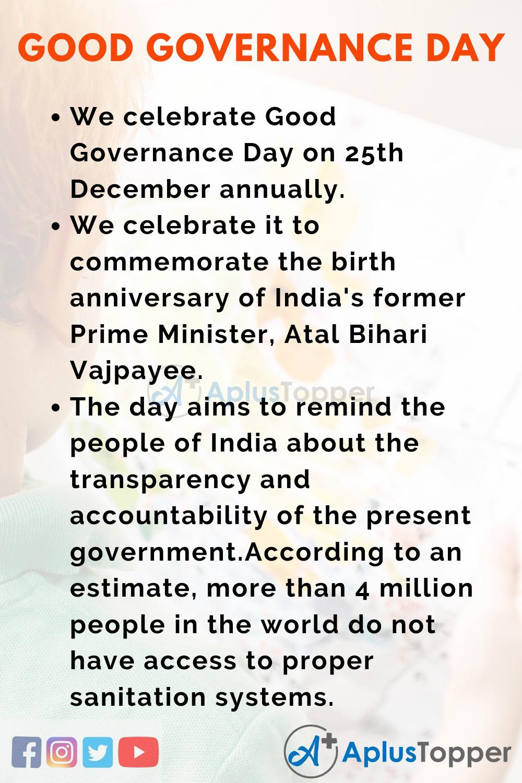 10 Lines On Good Governance Day for Kids