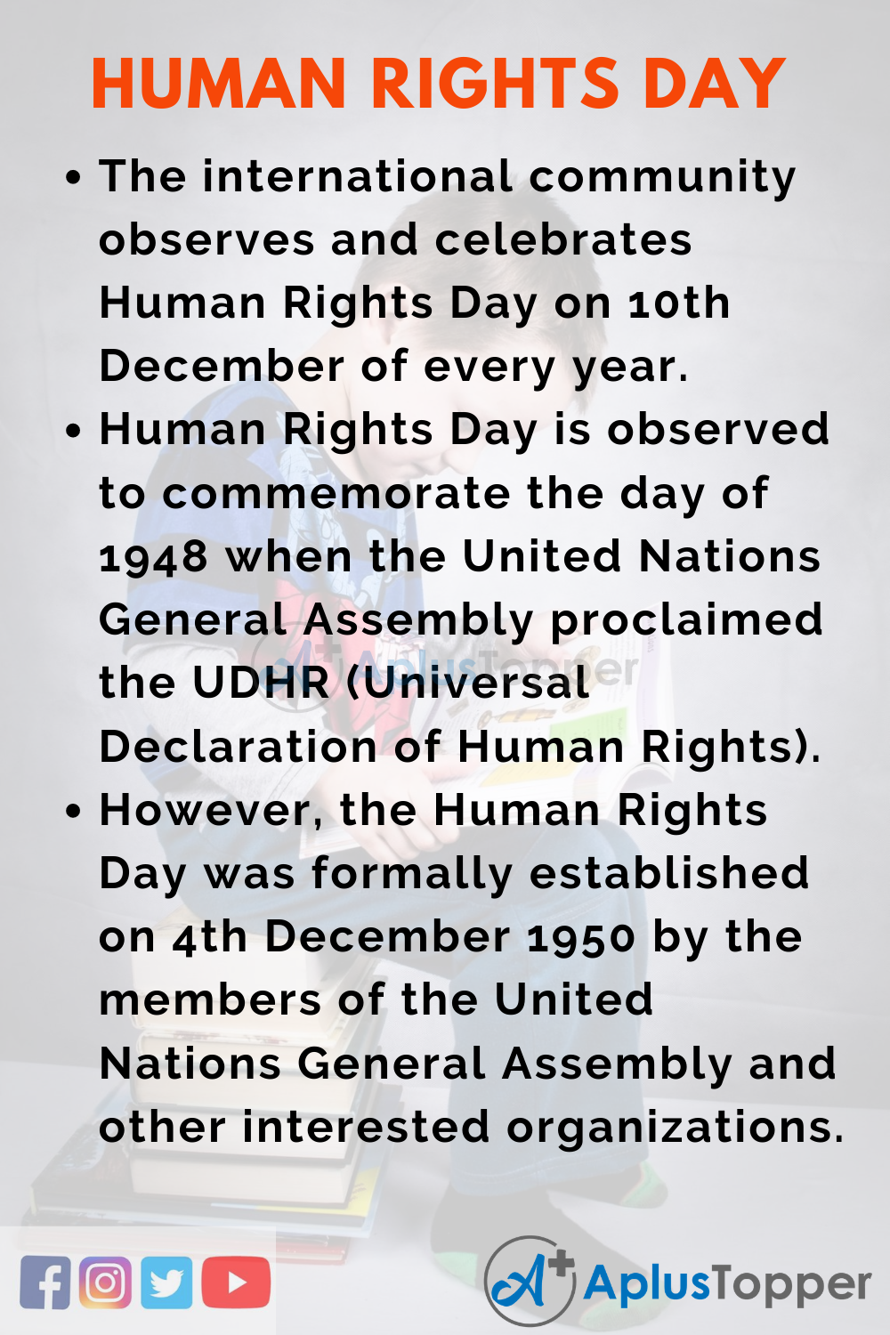 10 Lines On Human Rights Day for Higher Class Students