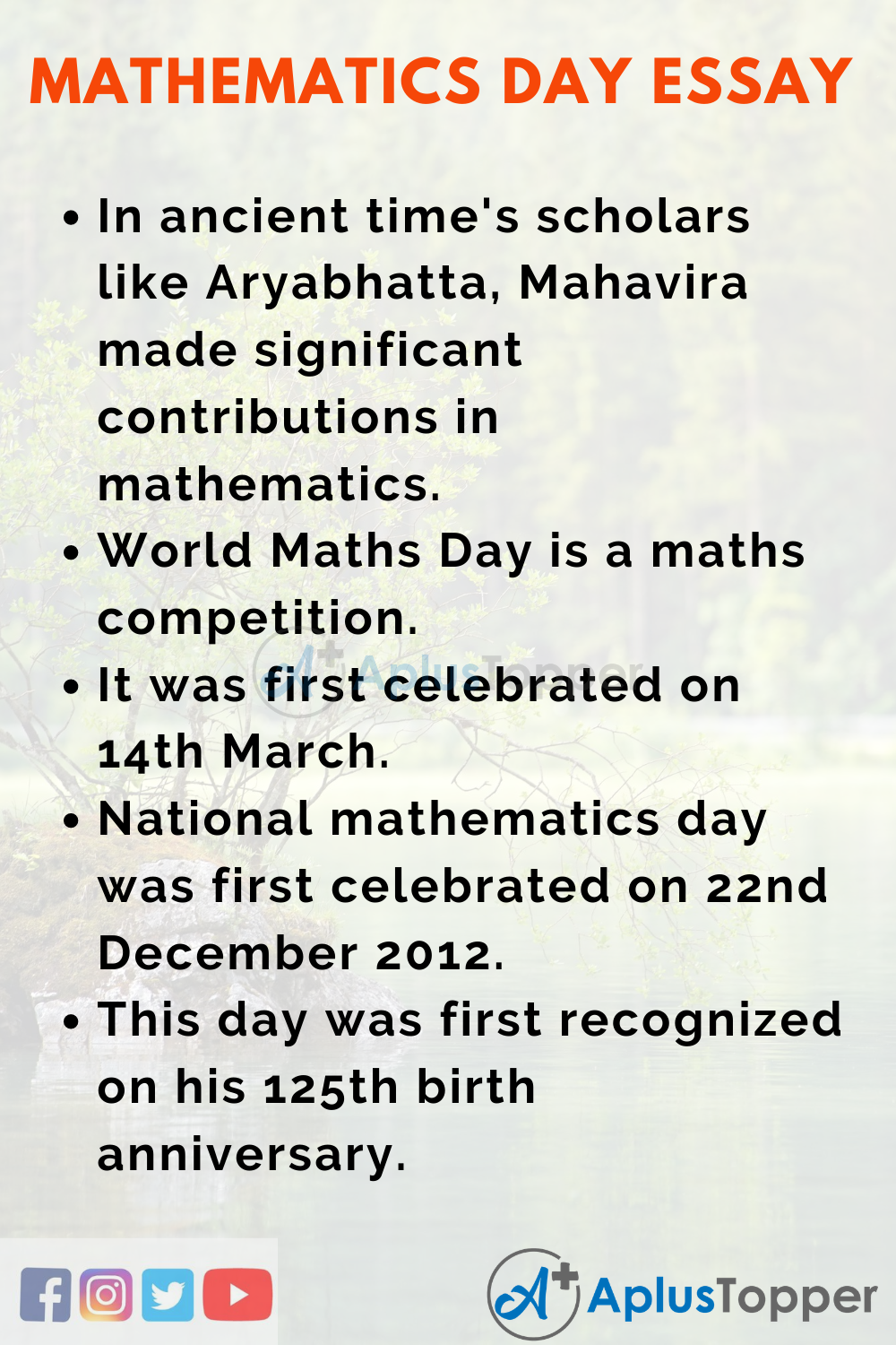 10 Lines On Mathematics Day Essay In English