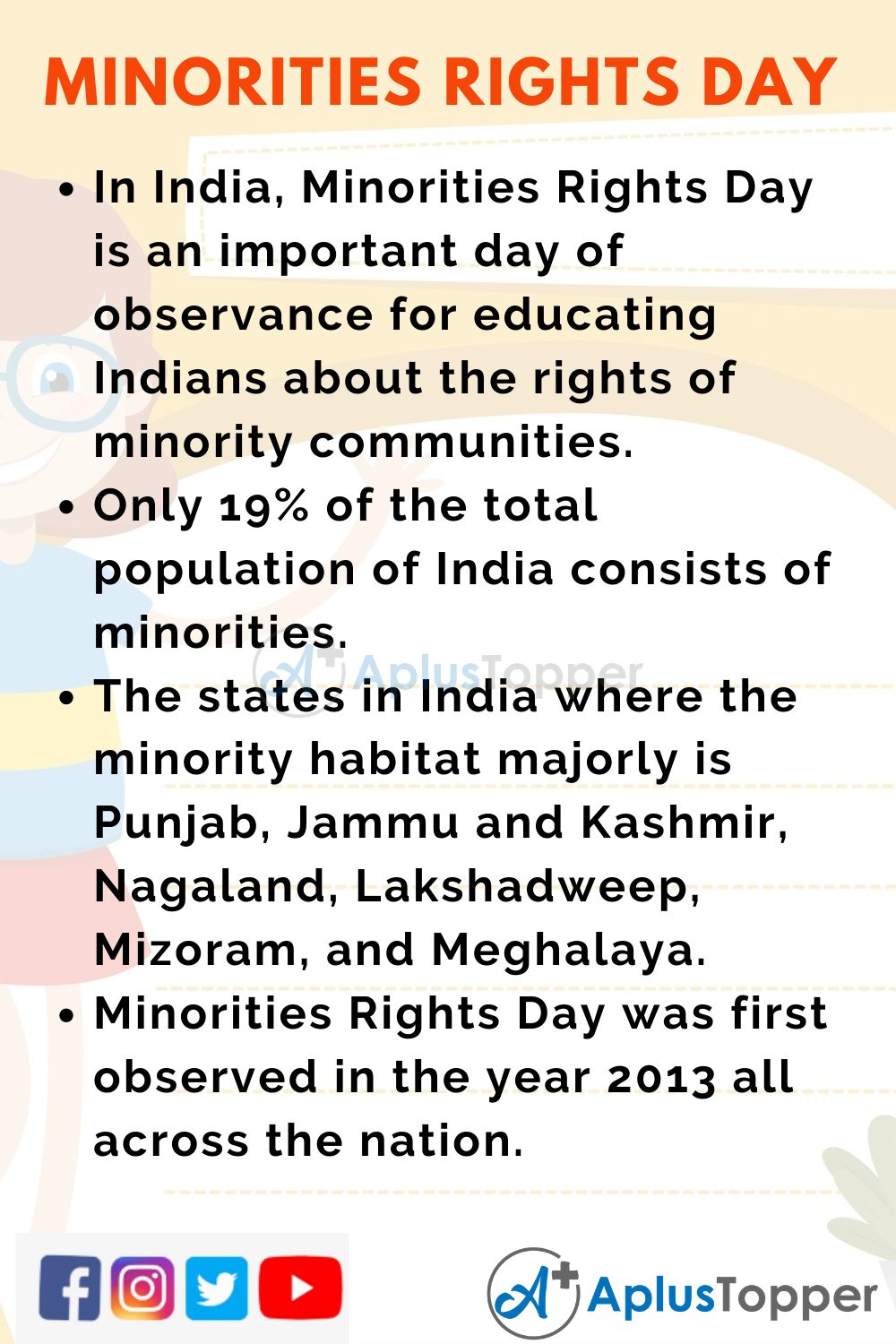 10 Lines On Minorities Rights Day in India for Higher Class Students