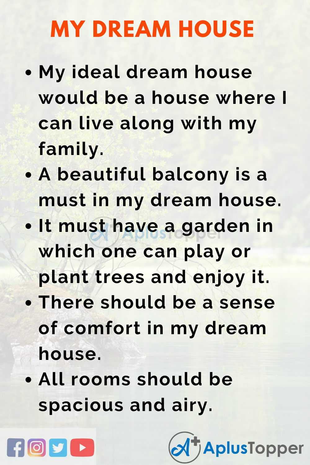10 Lines On My Dream House In English