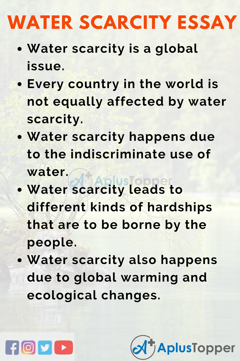 10 Lines On Water Scarcity Essay In English