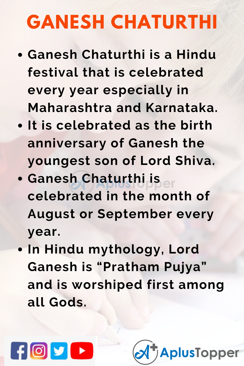 10 Lines on Ganesh Chaturthi for Kids