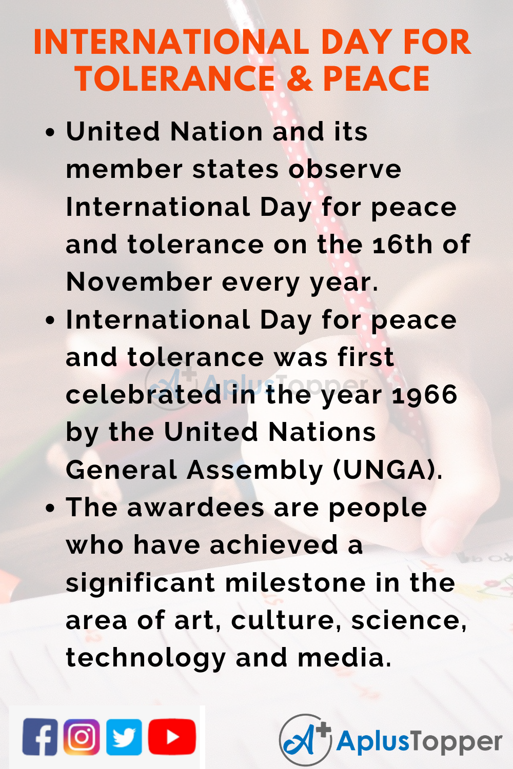 10 Lines on International Day for Tolerance and Peace for Kids