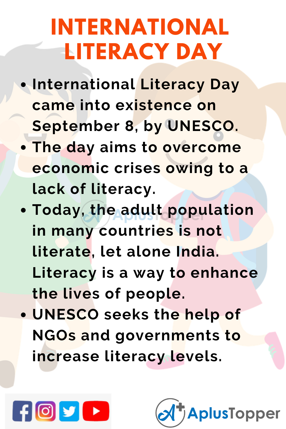 10 Lines on International Literacy Day for Higher Class Students