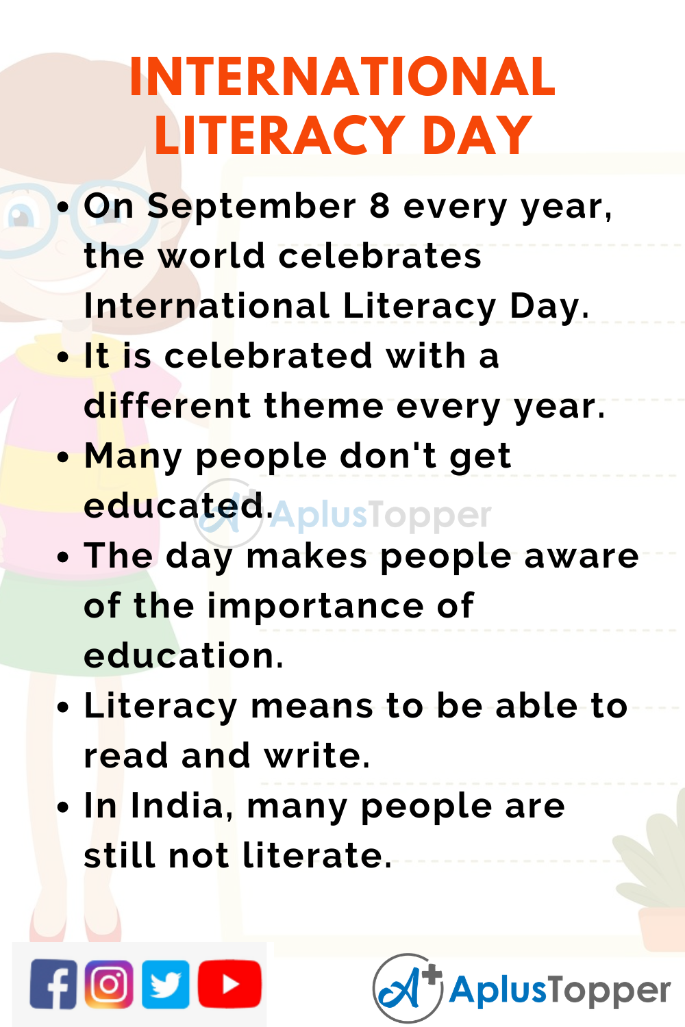 10 Lines on International Literacy Day for Kids