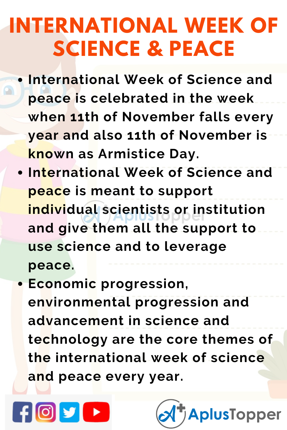 10 Lines on International Week of Science and Peace for Higher Class Students
