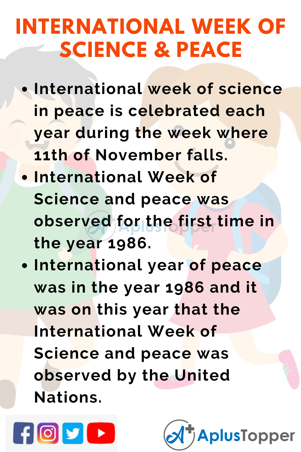 10 Lines on International Week of Science and Peace for Kids