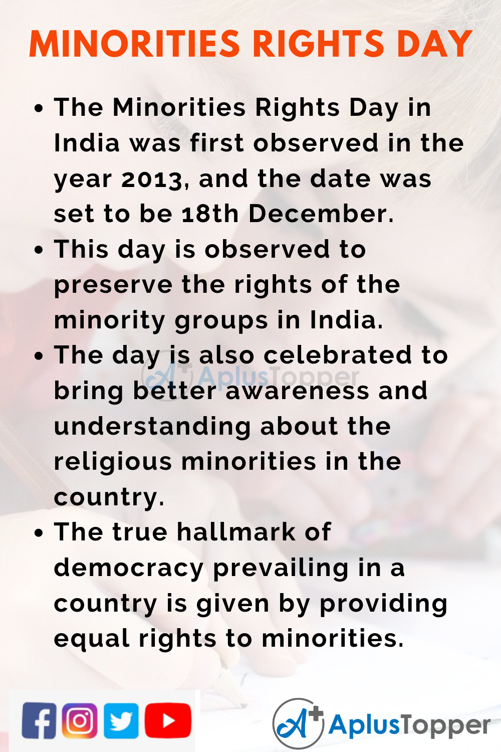 10 Lines on Minorities Rights Day in India for Kids