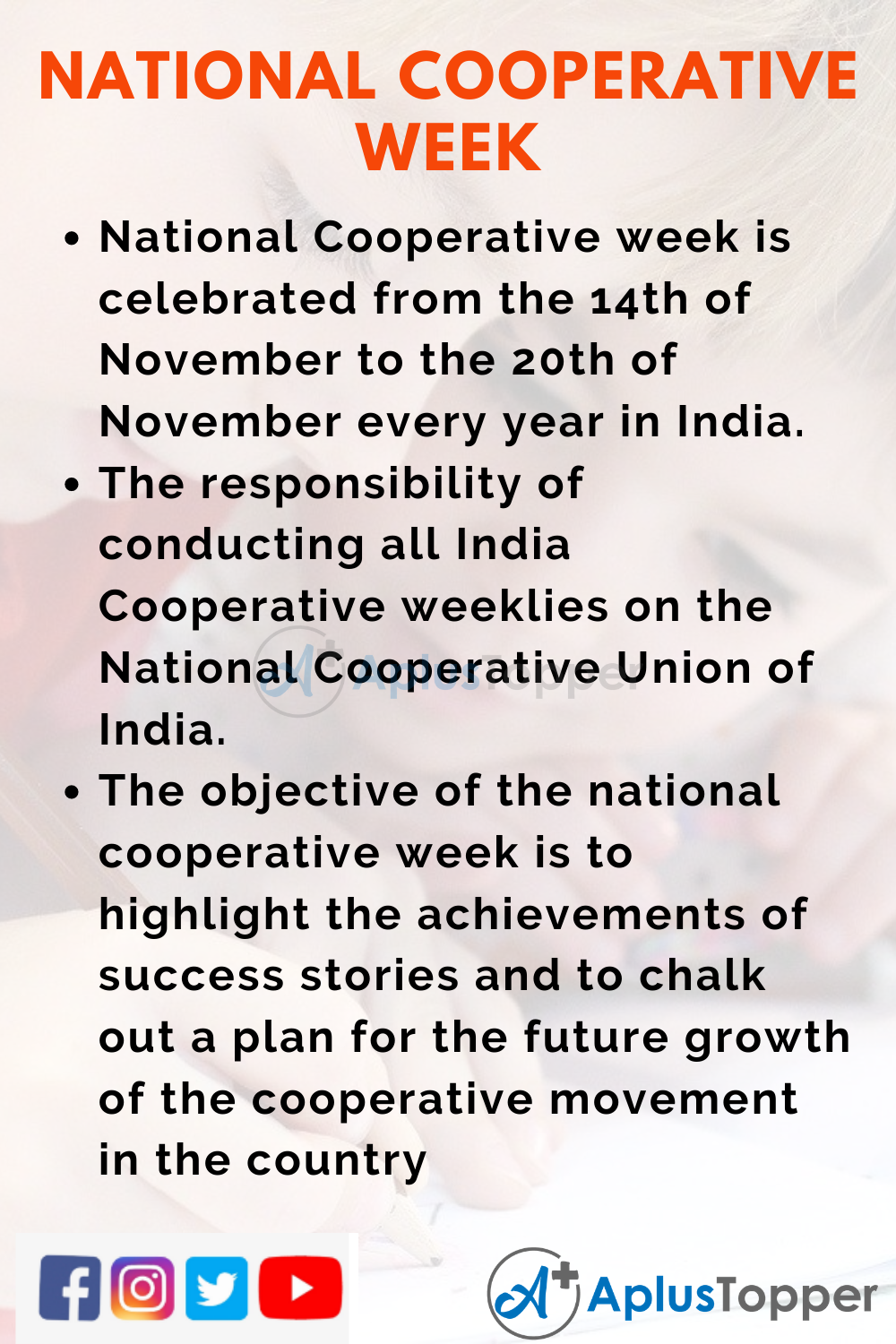 10 Lines on National Cooperative Week for Kids