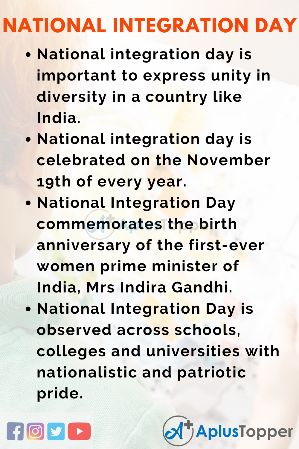 10 Lines on National Integration Day for Kids