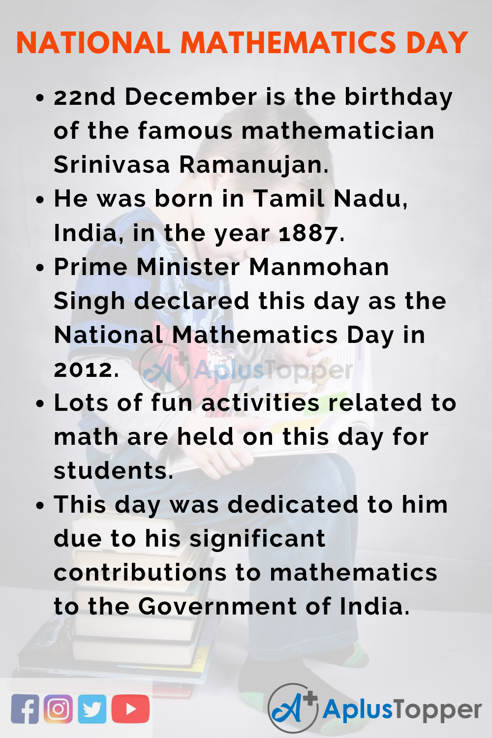 10 Lines on National Mathematics Day for Kids
