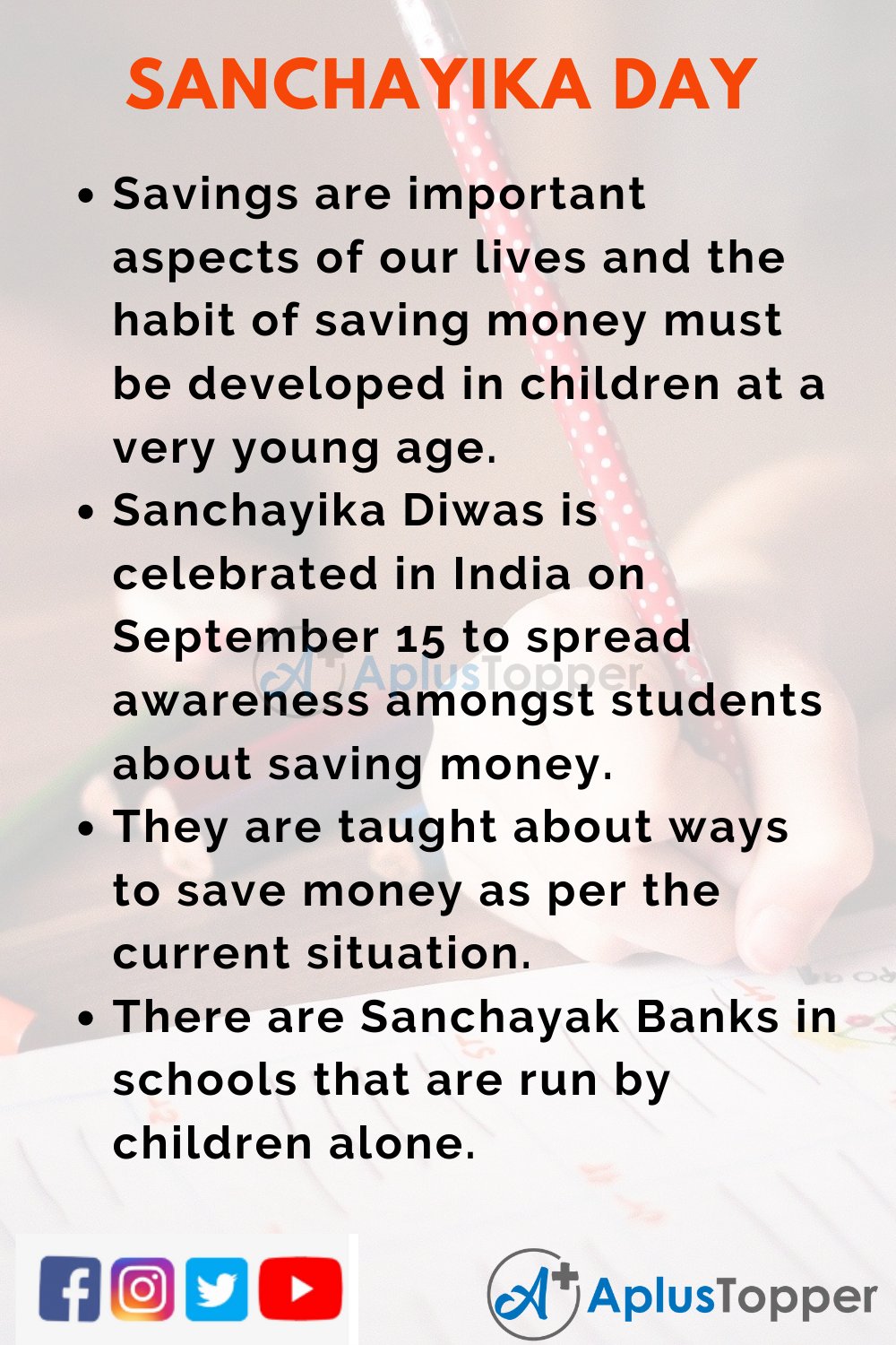 10 Lines on Sanchayika Day for Higher Class Students